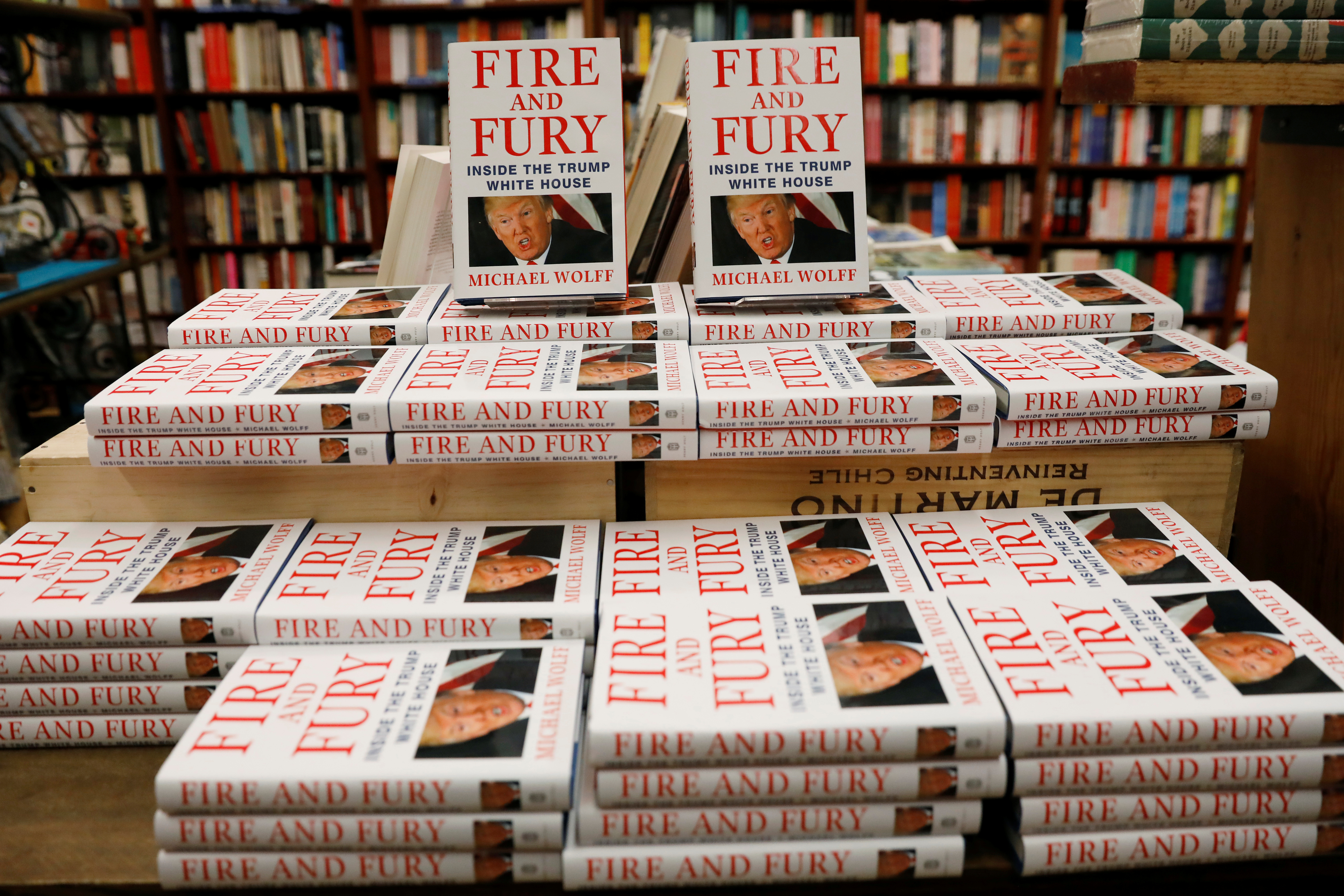 """Copies of the book """"Fire and Fury: Inside the Trump White House"""" by author Michael Wolff are seen at the Book Culture bookstore in New York, Jan. 5, 2018."""