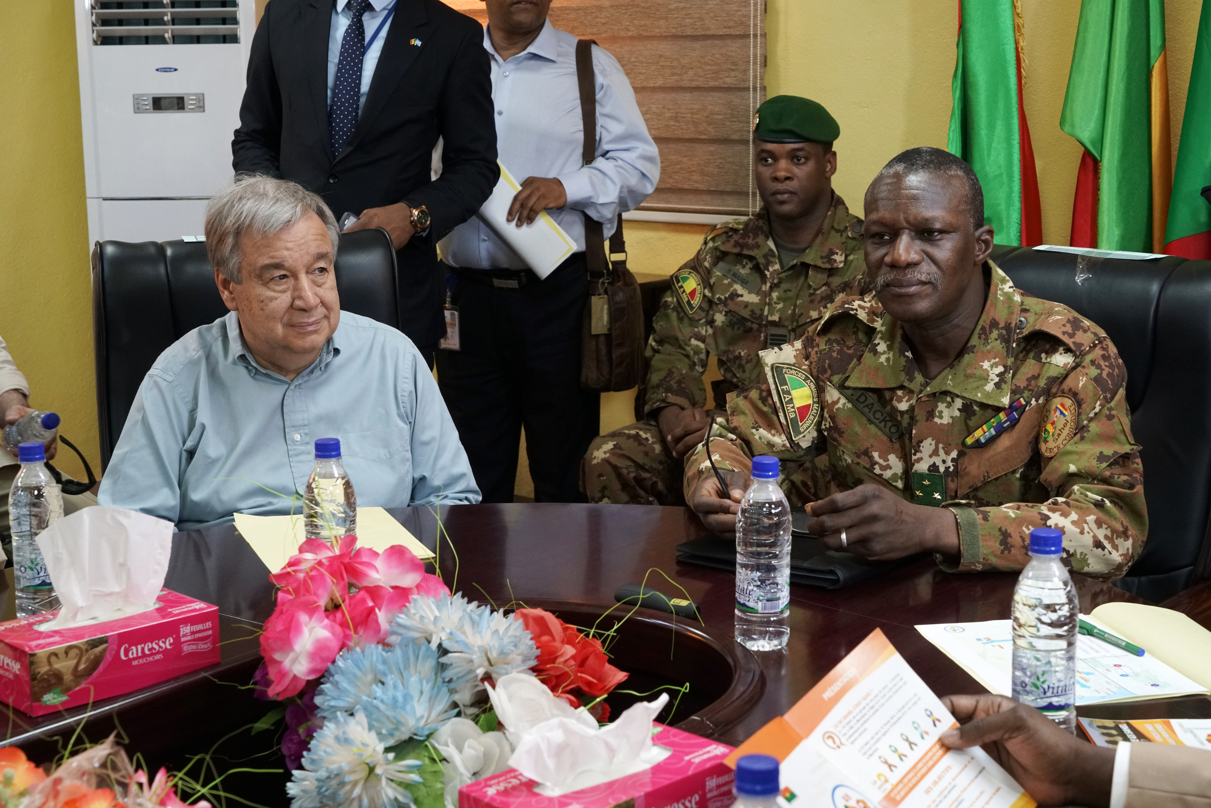 UN Secretary-General Antonio Guterres, left,  meets with Malian Army General Didier Dacko, Force Commander of the G5 Sahel during Guterres' two-day visit to Mali, May 29, 2018.