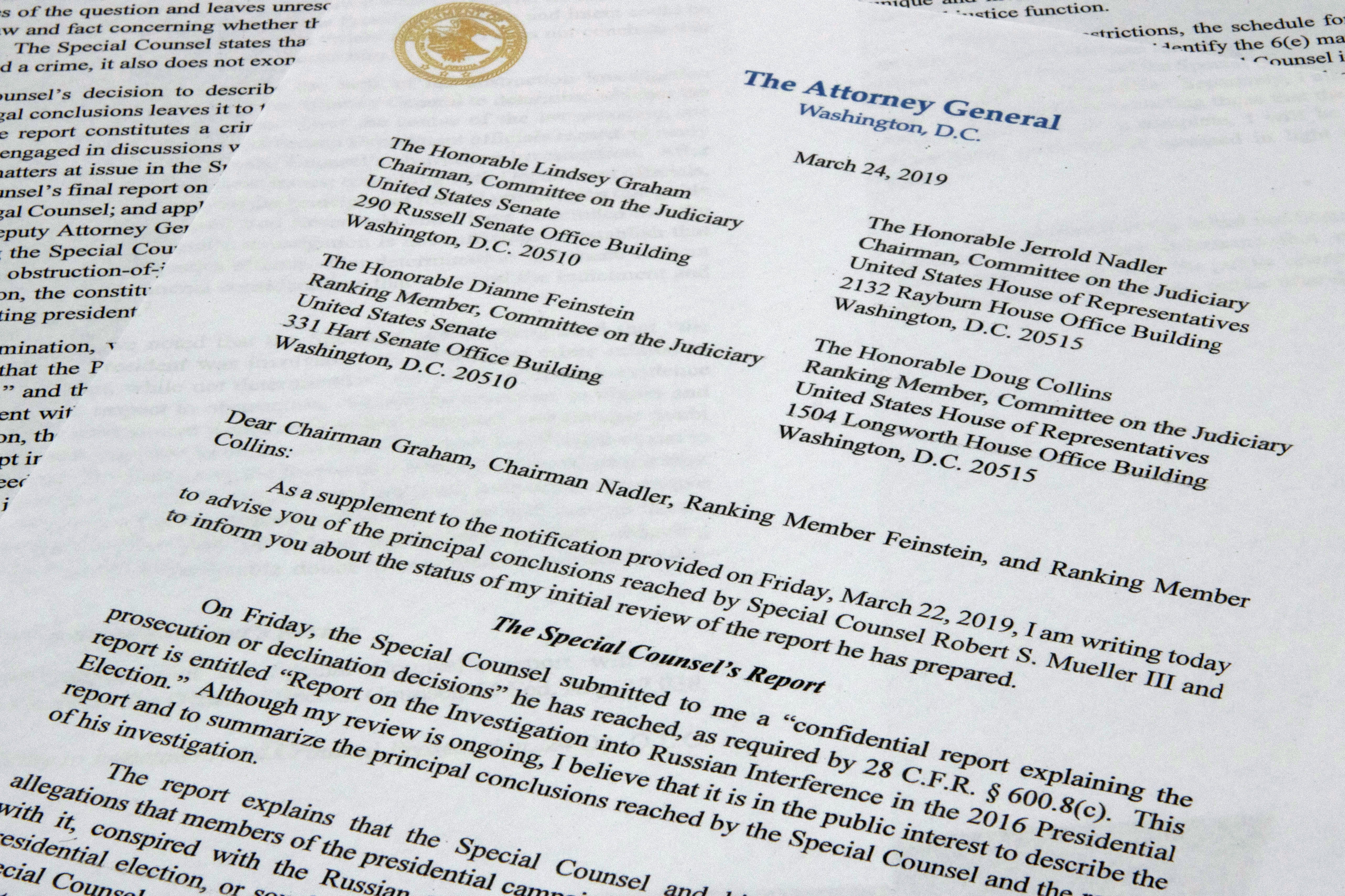 FILE - The letter from Attorney General William Barr to Congress on the conclusions reached by special counsel Robert Mueller in the Russia probe, March 24, 2019.
