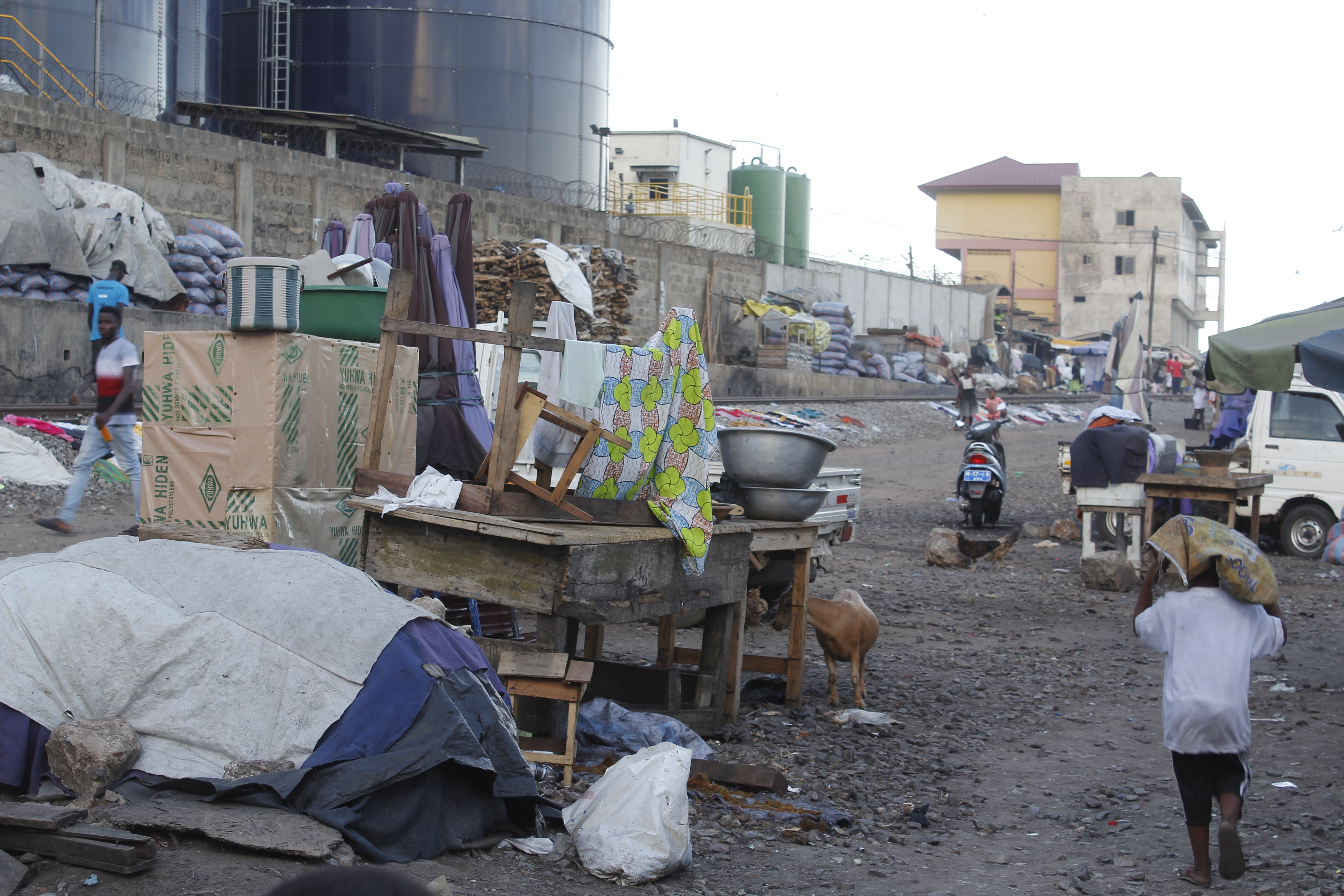Informal settlements in Accra's Agbogbloshie slum, where residents were evicted by city authorities to make way for a railway track in Accra, Ghana,  May 26, 2019.