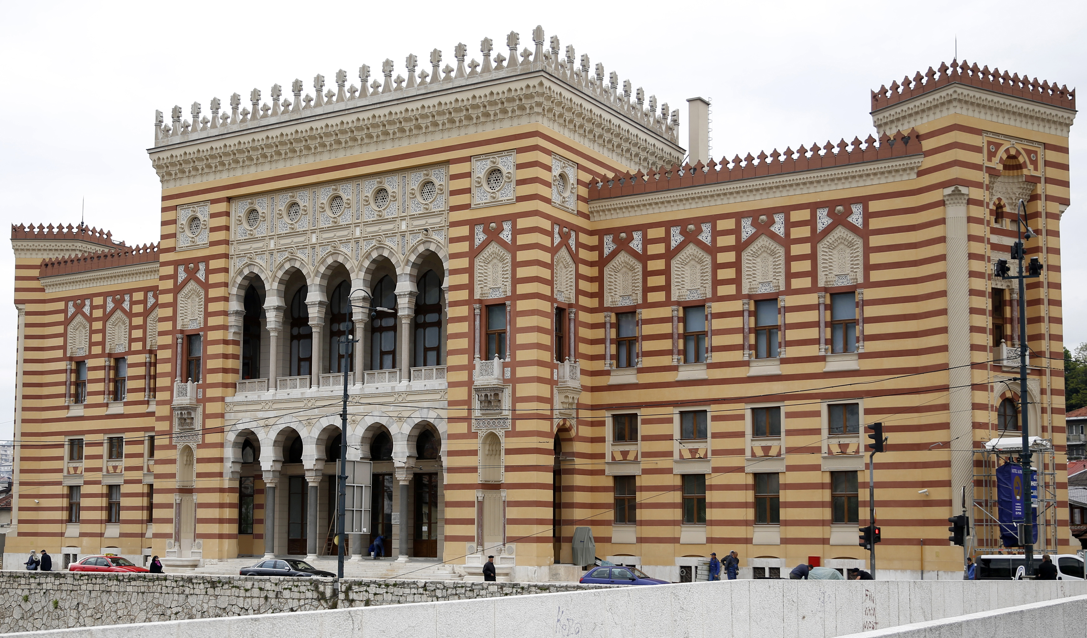 """The restored """"Vijecnica"""" (city hall) is seen in Sarajevo May 8, 2014. Sarajevo's City Hall, a stately neo-Moorish edifice marked by the violence of two 20th-century wars, has returned to its old glory after being destroyed by Serb shelling during the..."""
