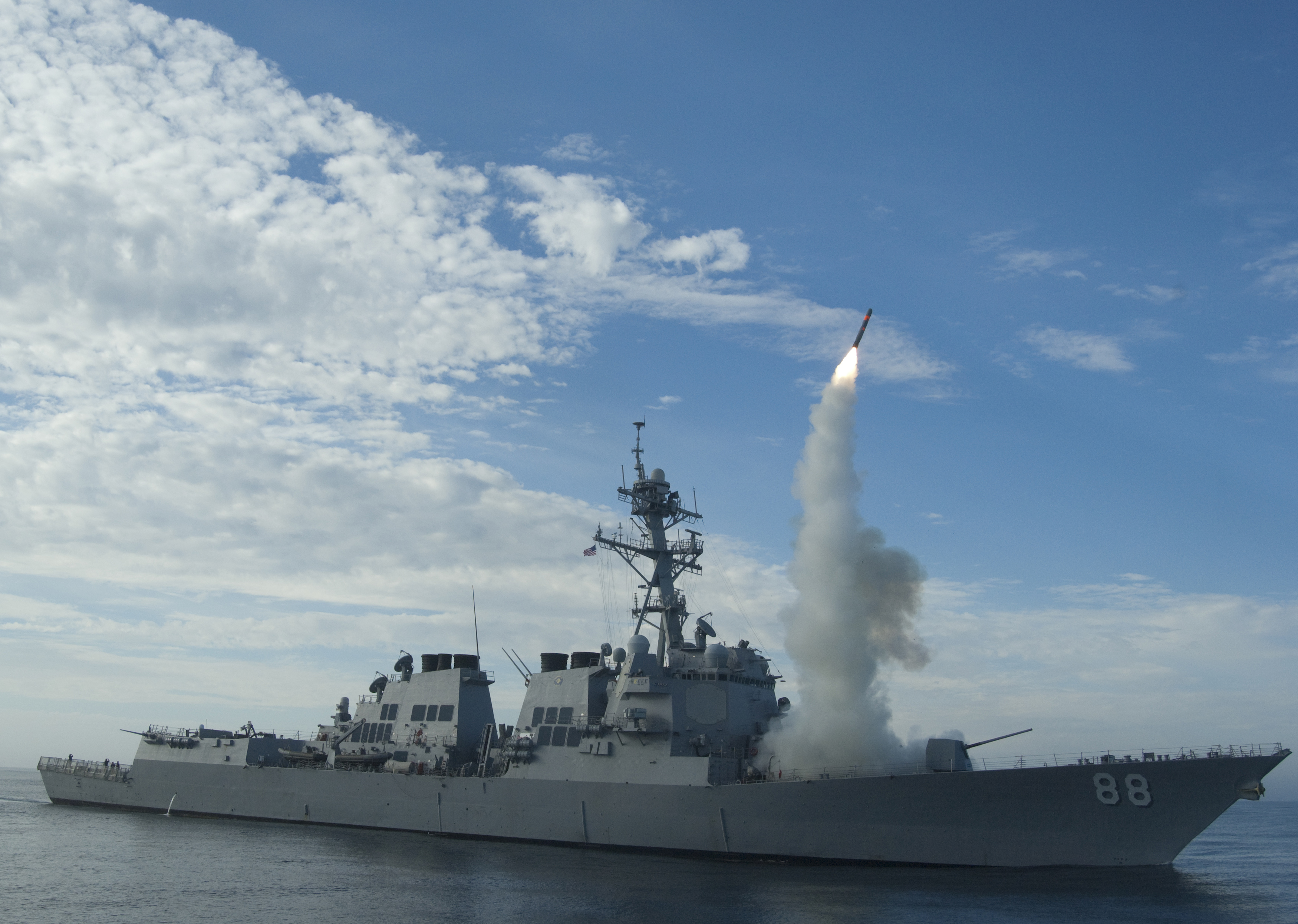 Sailors aboard the guided-missile destroyer USS Preble (DDG 88) conduct an operational tomahawk missile launch in a training area off the coast of California in this September 29, 2010 file photograph and released to Reuters on March 19, 2011. U.S. a...