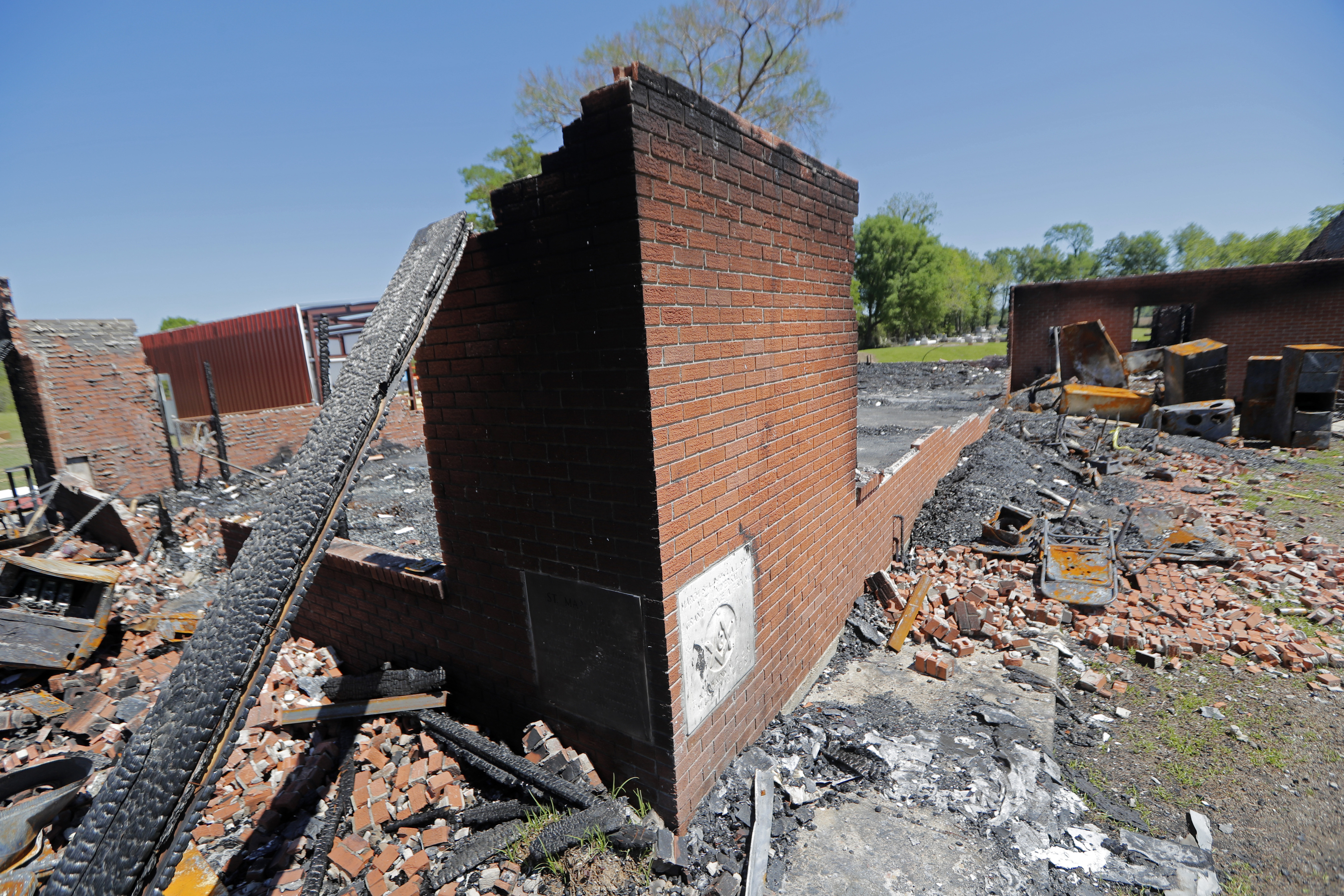 The burnt ruins of the St. Mary Baptist Church, one of three that recently burned down in St. Landry Parish, are seen in Port Barre, La., Apr. 10, 2019.