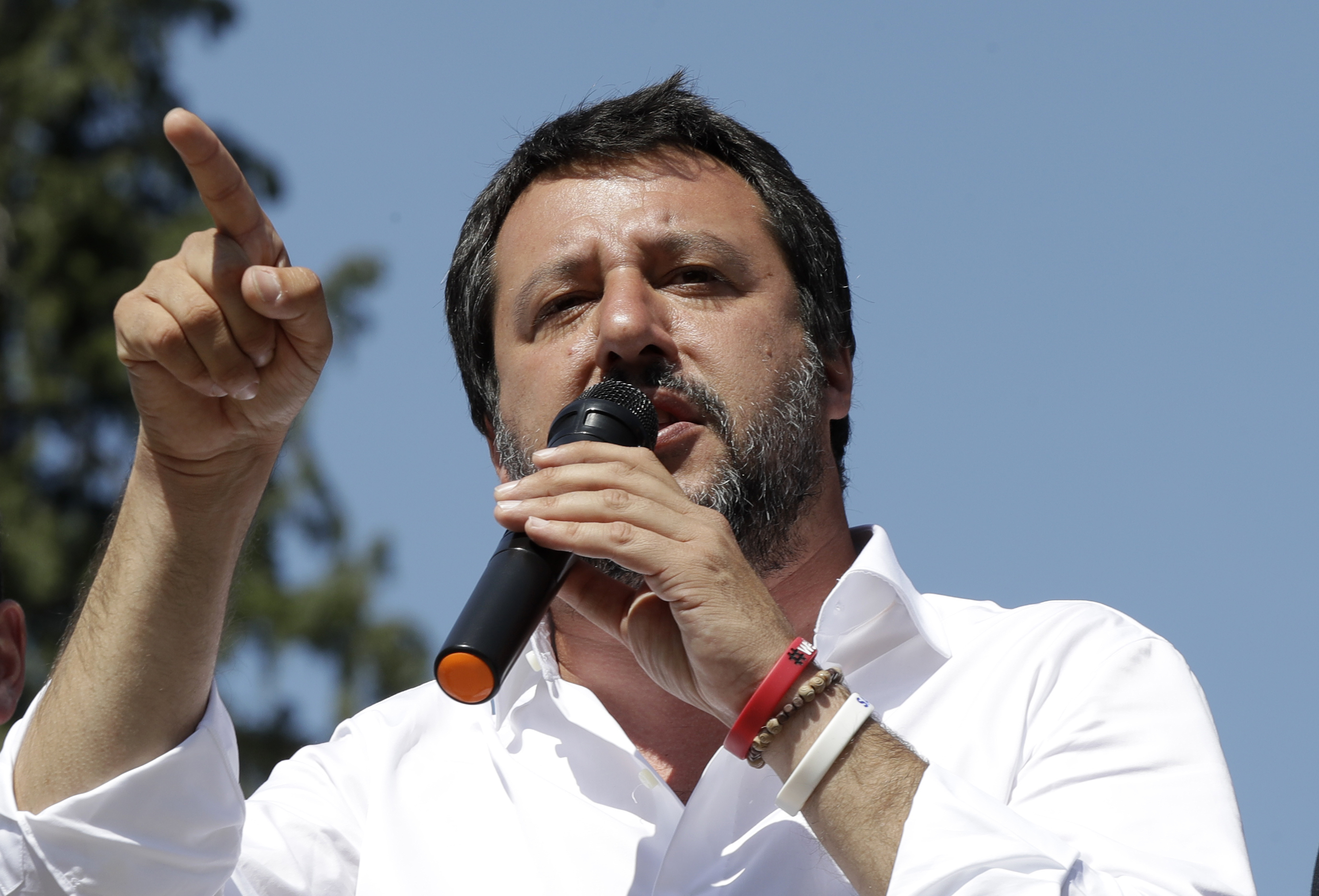 Italian interior Minister Matteo Salvini attends a public speaking in Giussano, near Milan, Italy, May 7, 2019,
