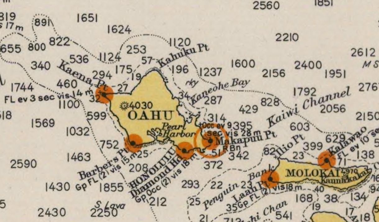 Detail from a 1941 U.S. Coast Guard nautical chart of Hawaii. During WWII, NOAA's predecessor, the U.S. Coast and Geodetic Survey, provided close to 100 million maps and charts to Allied Forces.