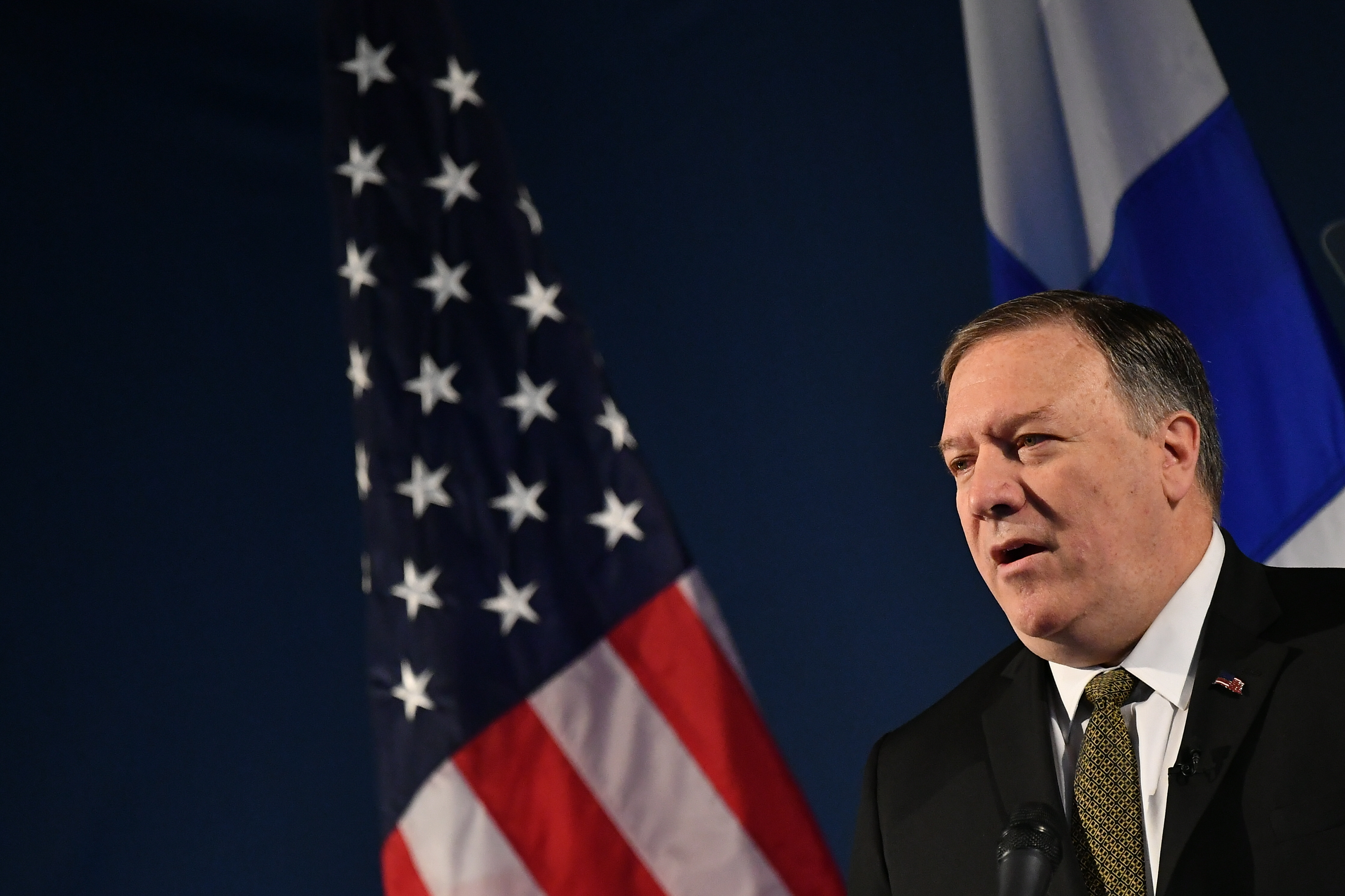 Secretary of State Mike Pompeo speaks on Arctic policy at the Lappi Areena in Rovaniemi, Finland, May 6, 2019.