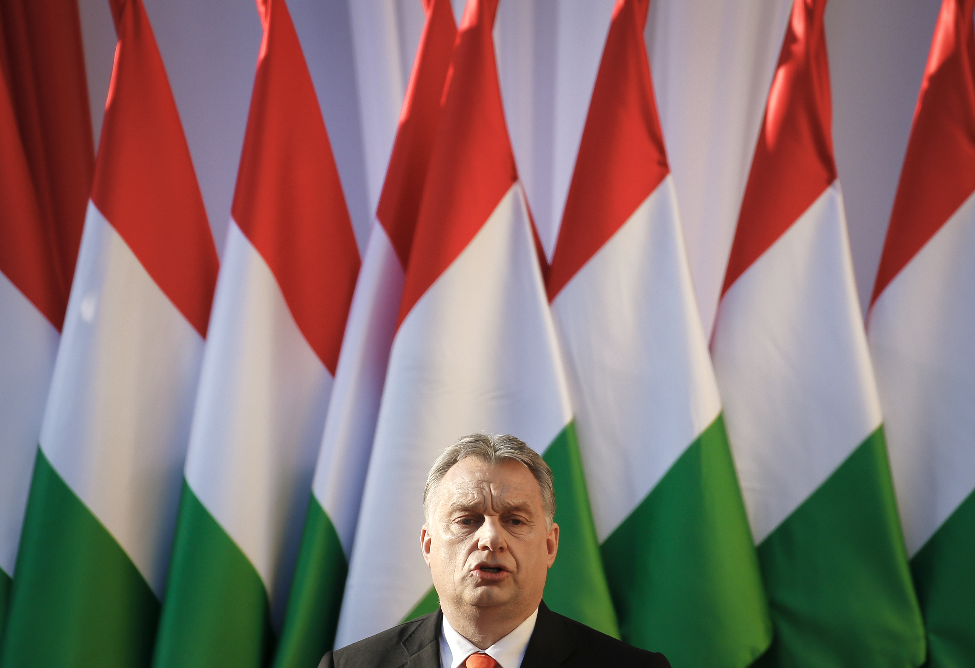 FILE - In this Friday, April 6, 2018 file photo Hungary's Prime Minister Viktor Orban speaks during the final electoral rally of his Fidesz party in Szekesfehervar, Hungary.
