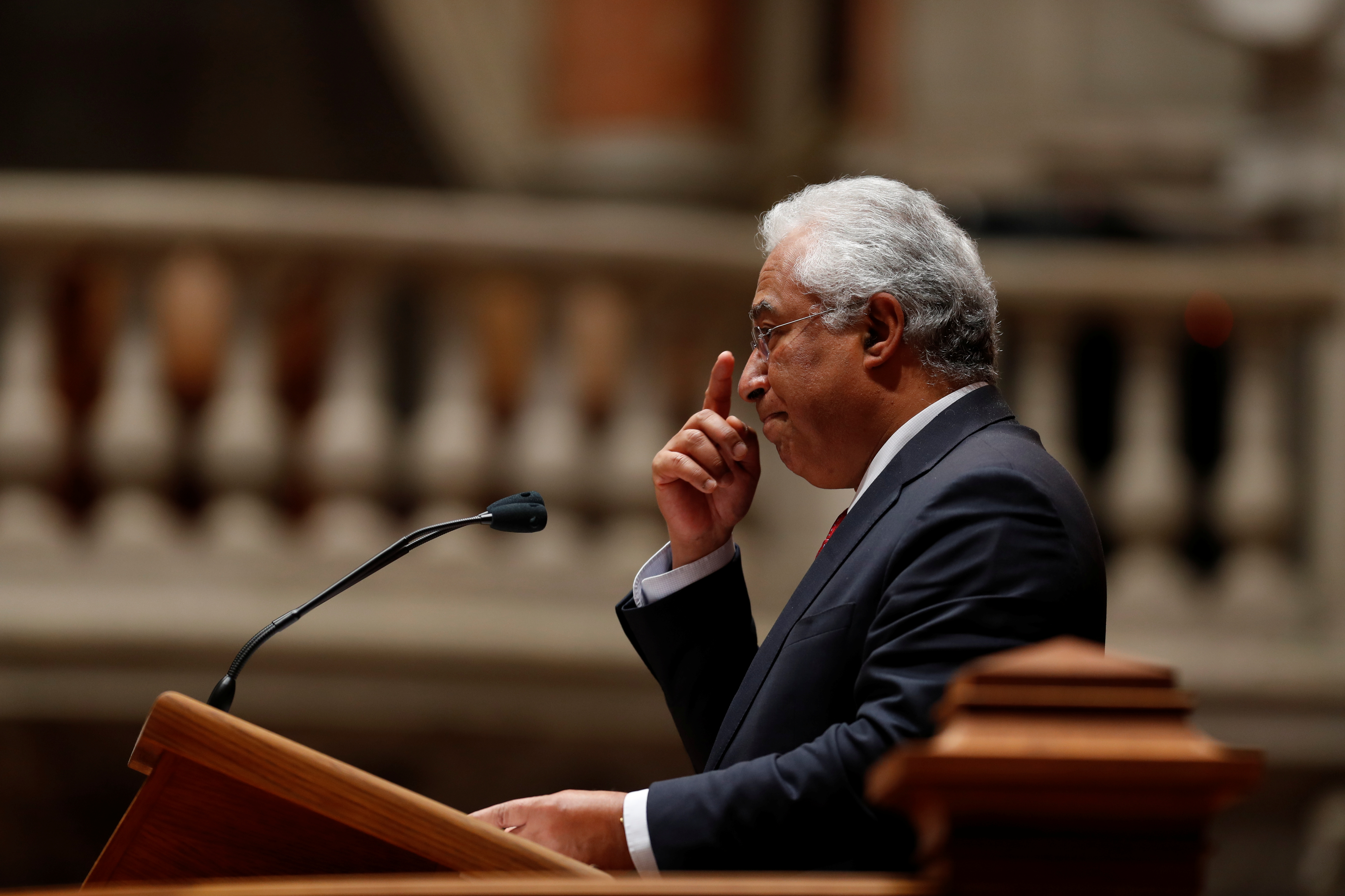 FILE - Portugal's Prime Minister Antonio Costa speaks during a debate on 2019 state budget at the parliament in Lisbon.