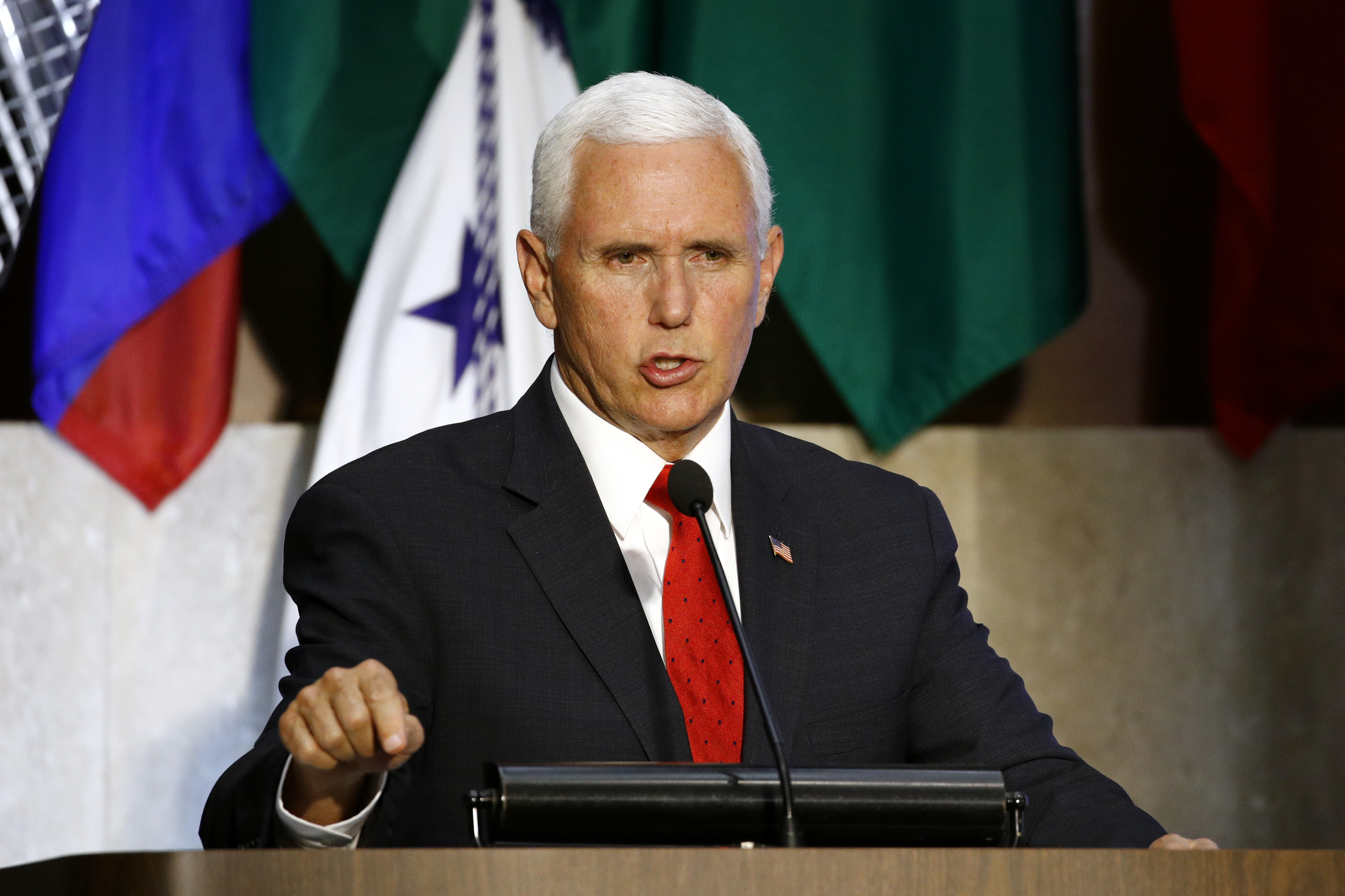 Vice President Mike Pence speaks at the 49th Washington Conference on the Americas, May 7, 2019, at the U.S. State Department in Washington.