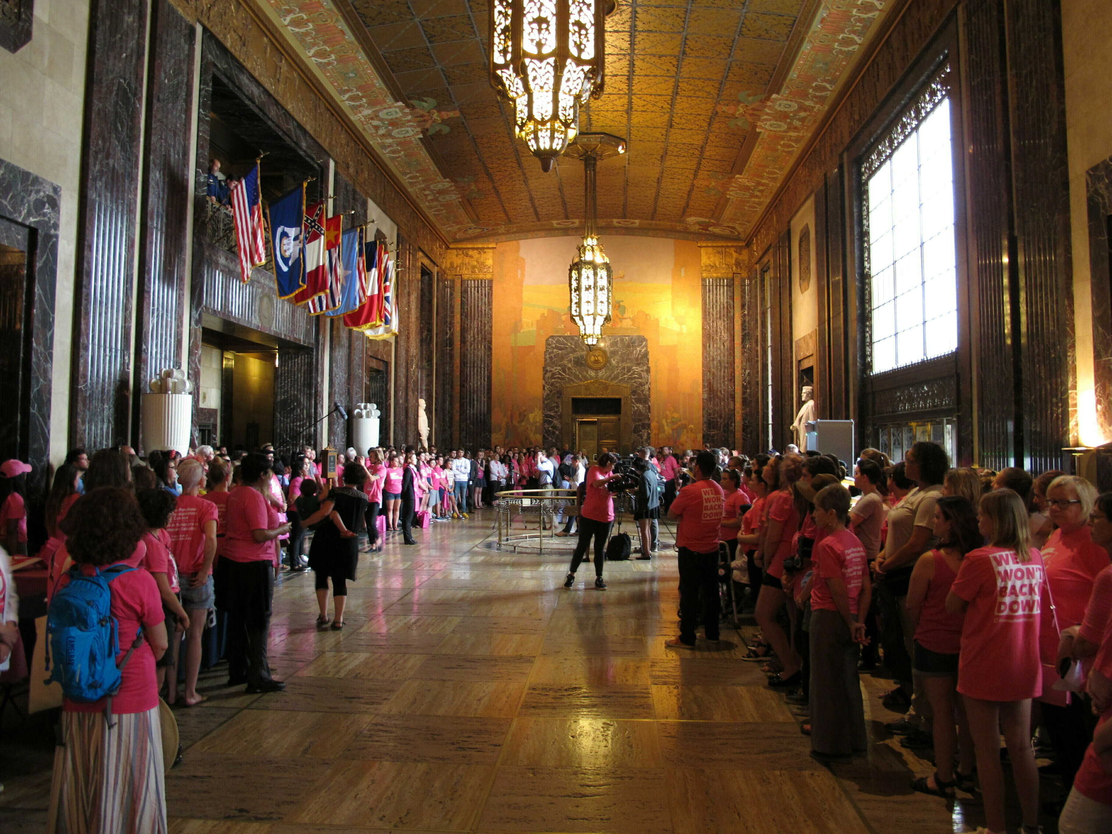 """Planned Parenthood protesters hold a """"stand-in"""" at the Louisiana Capitol in opposition to enactment of a bill to ban abortion as early as six weeks of pregnancy, May 30, 2019, in Baton Rouge."""