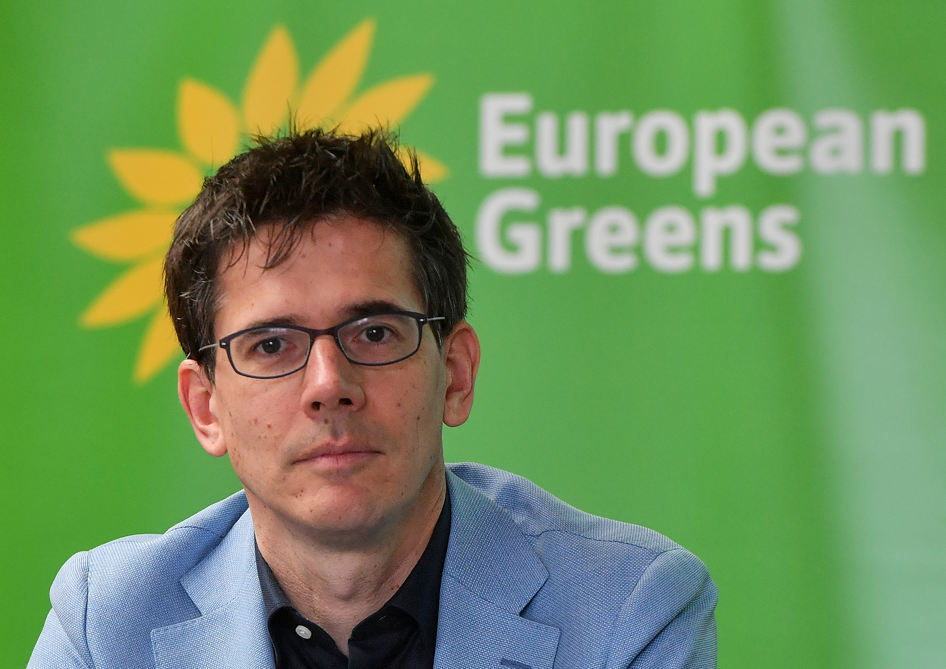 """FILE- European Greens co-lead candidate BasEickhout, pictured in Brussels on March 6, 2019, spoke May 25 of a""""green wave"""" rolling on to Irish shores from the Netherlands."""