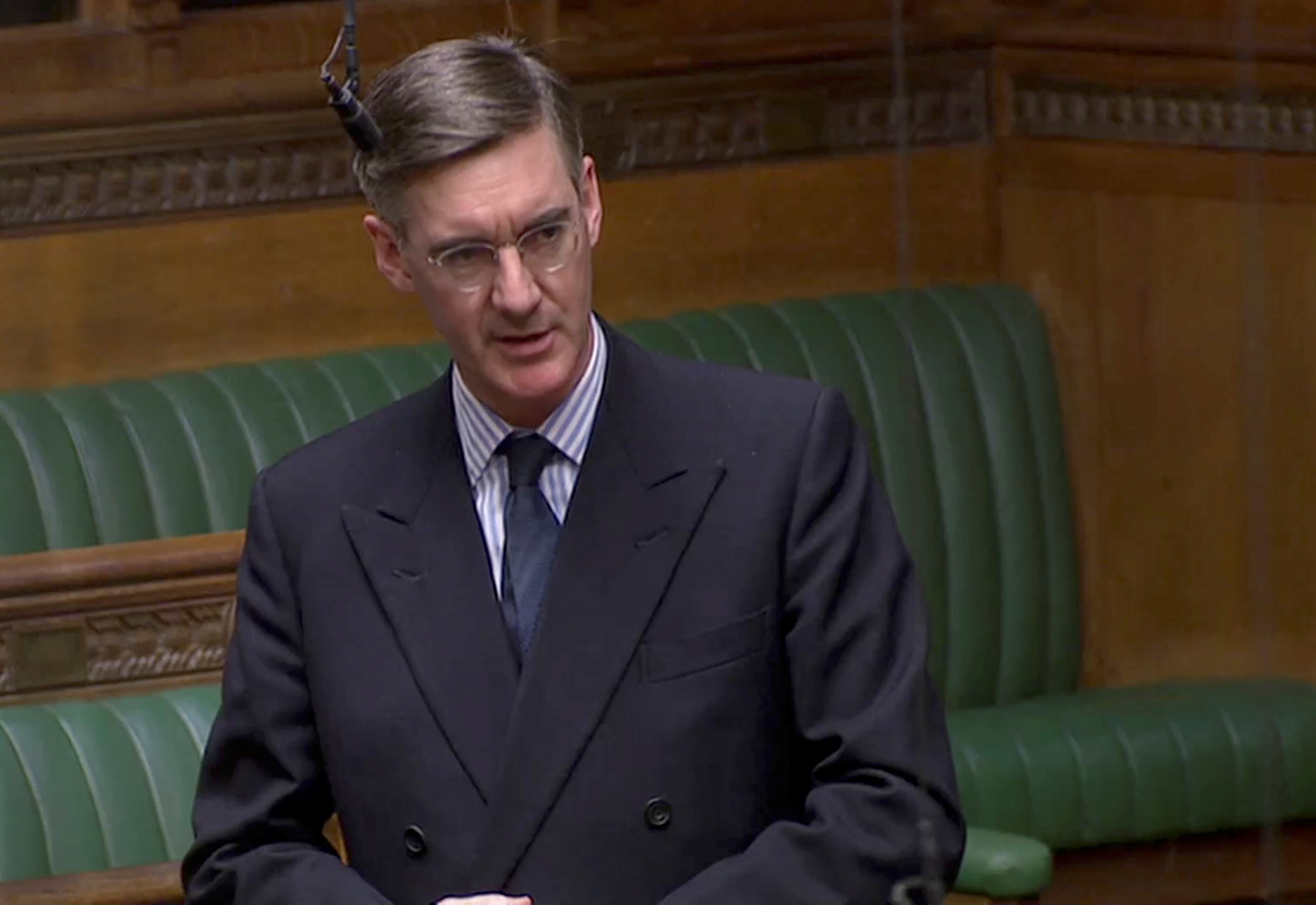 Britain's Conservative MP Jacob Rees-Mogg speaks in the Parliament in London, Britain, April 3, 2019, in this image taken from video.