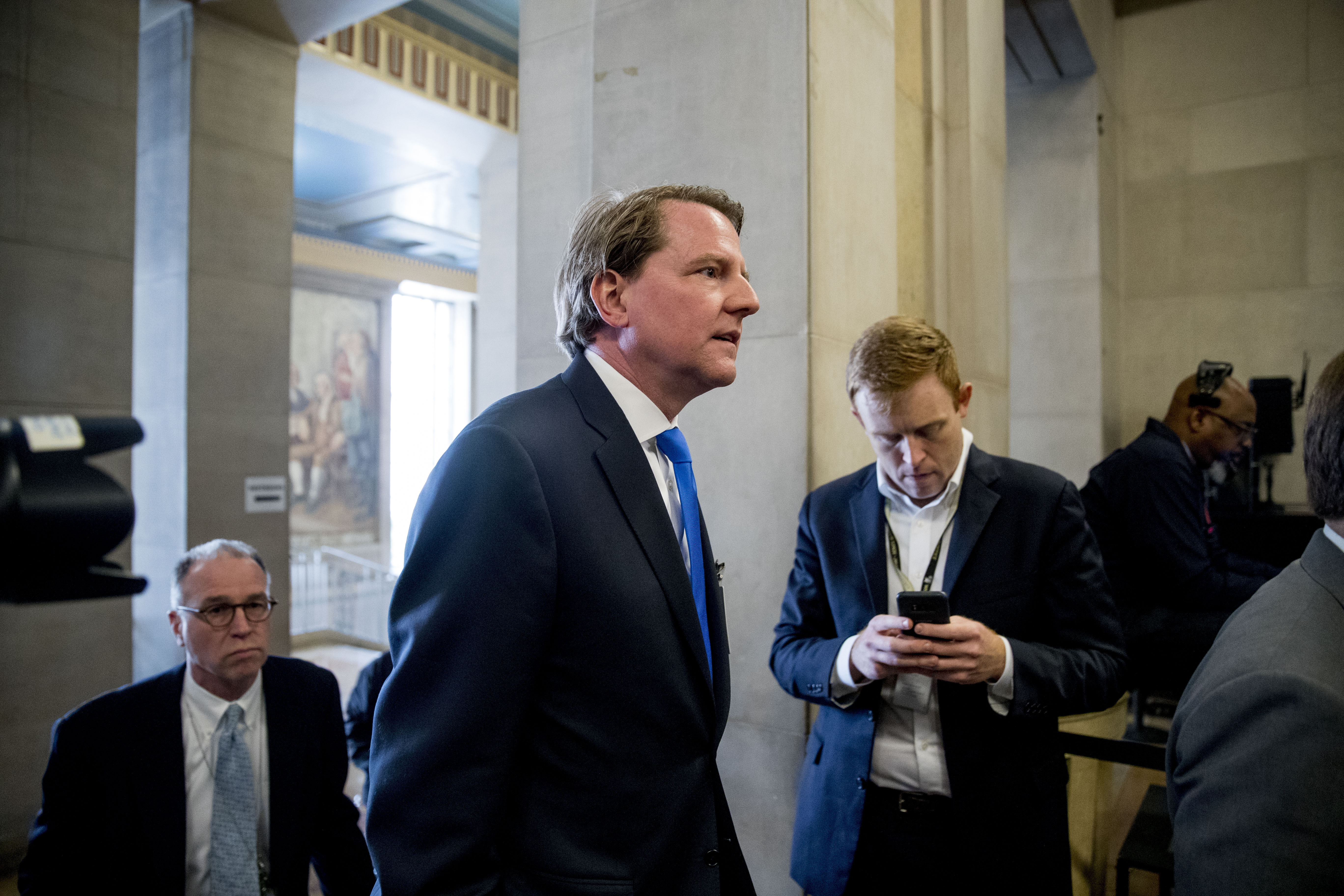 Former White House Counsel Don McGahn arrives for a farewell ceremony for Deputy Attorney General Rod Rosenstein in the Great Hall at the Department of Justice in Washington, Thursday, May 9, 2019.