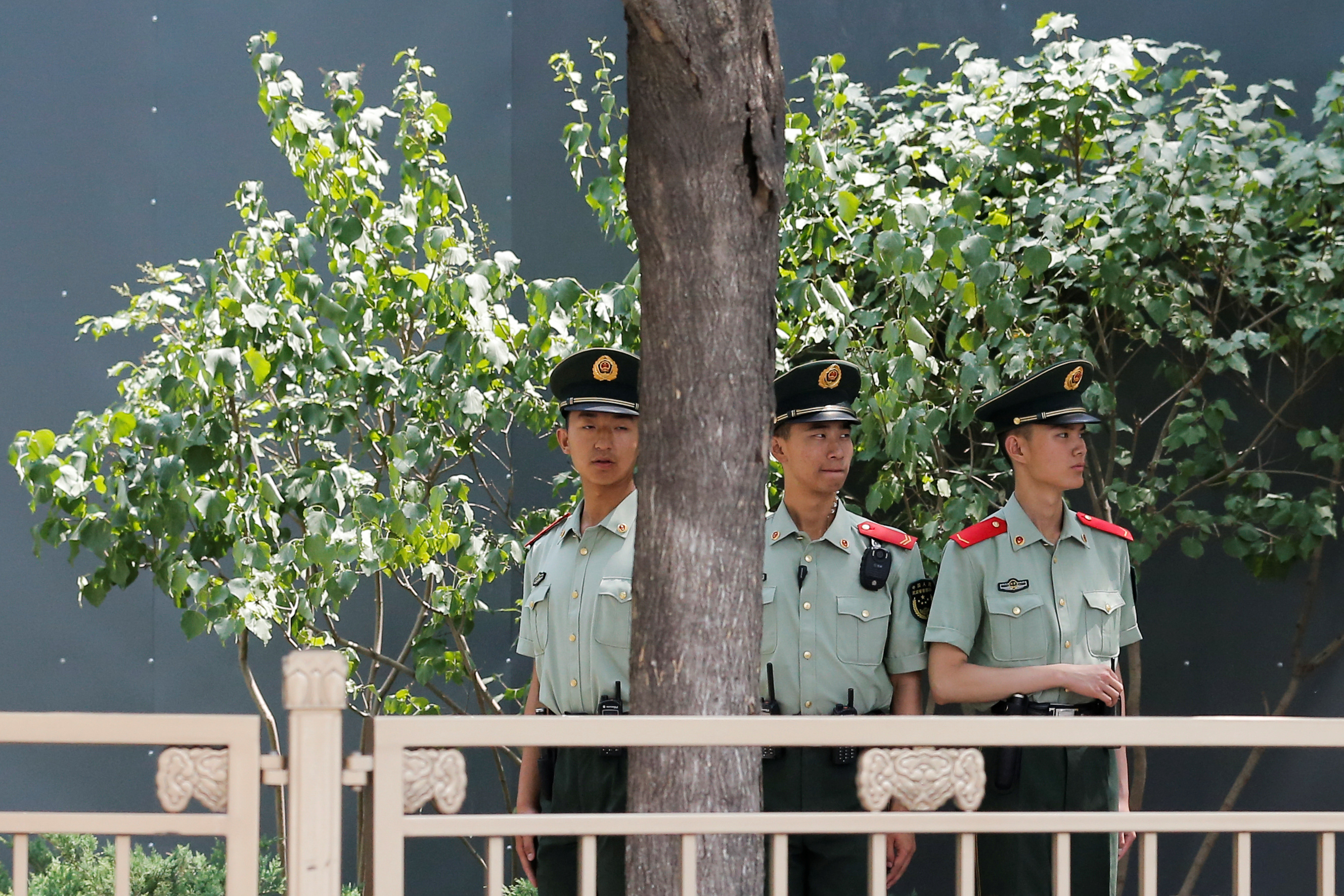 Paramilitary officers keep watch in Tiananmen Square in Beijing, China,June 4, 2019.