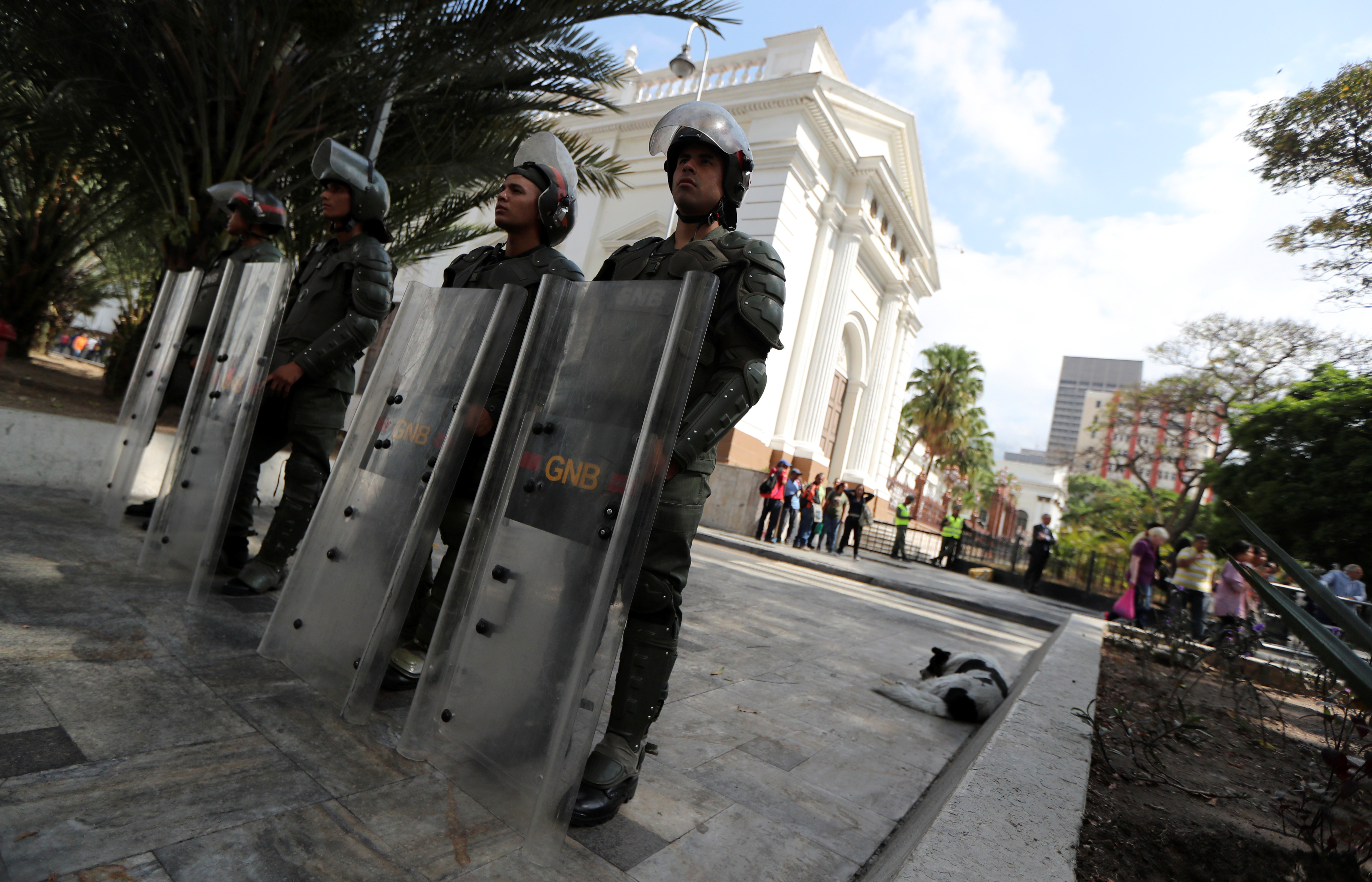 Members of security forces stand guard outside the National Assembly in Caracas, Venezuela, May 7, 2019.