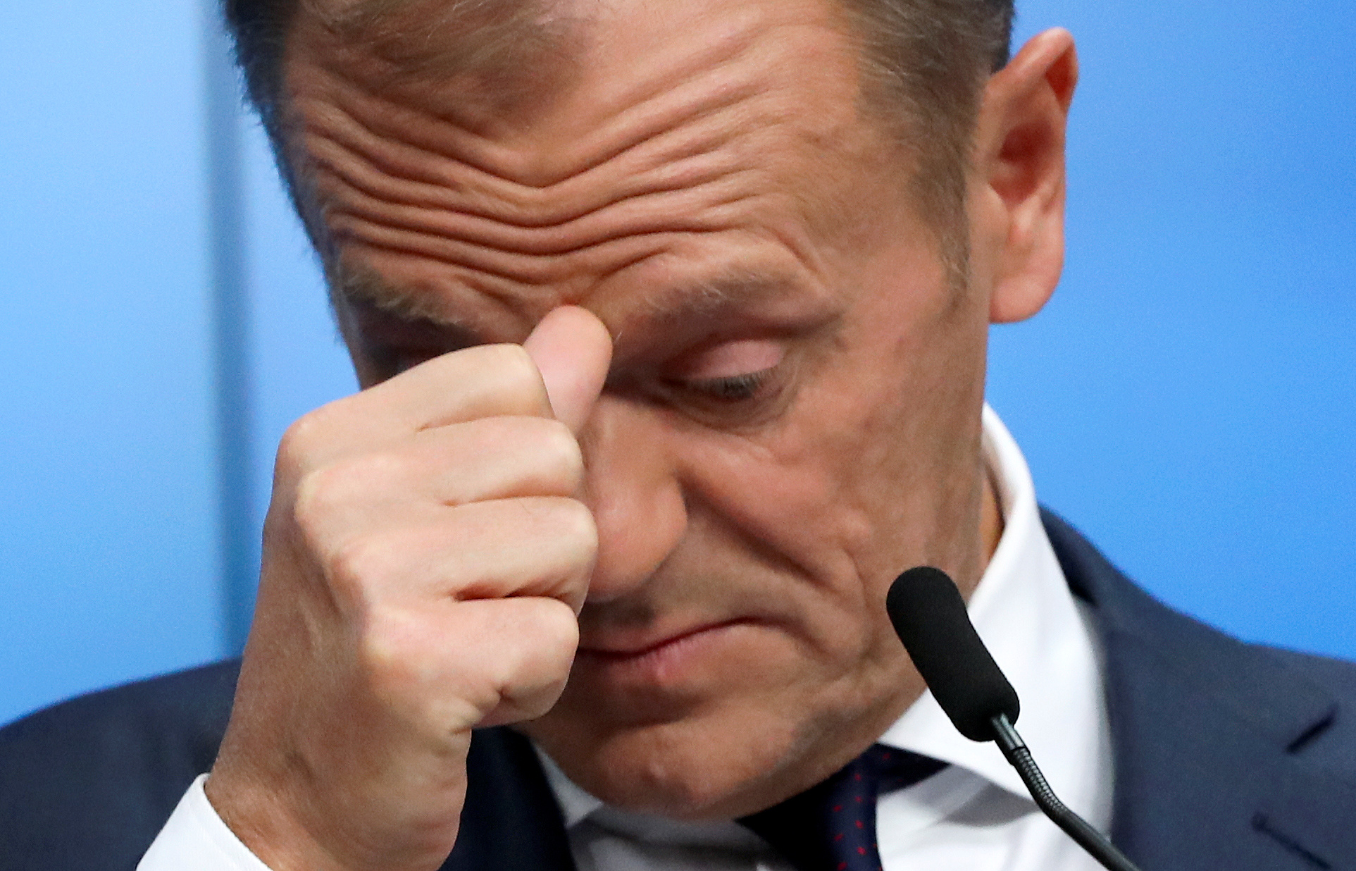 European Council President Donald Tusk reacts as he holds a news conference after an extraordinary European Union leaders summit to discuss Brexit, in Brussels, Belgium, April 11, 2019.