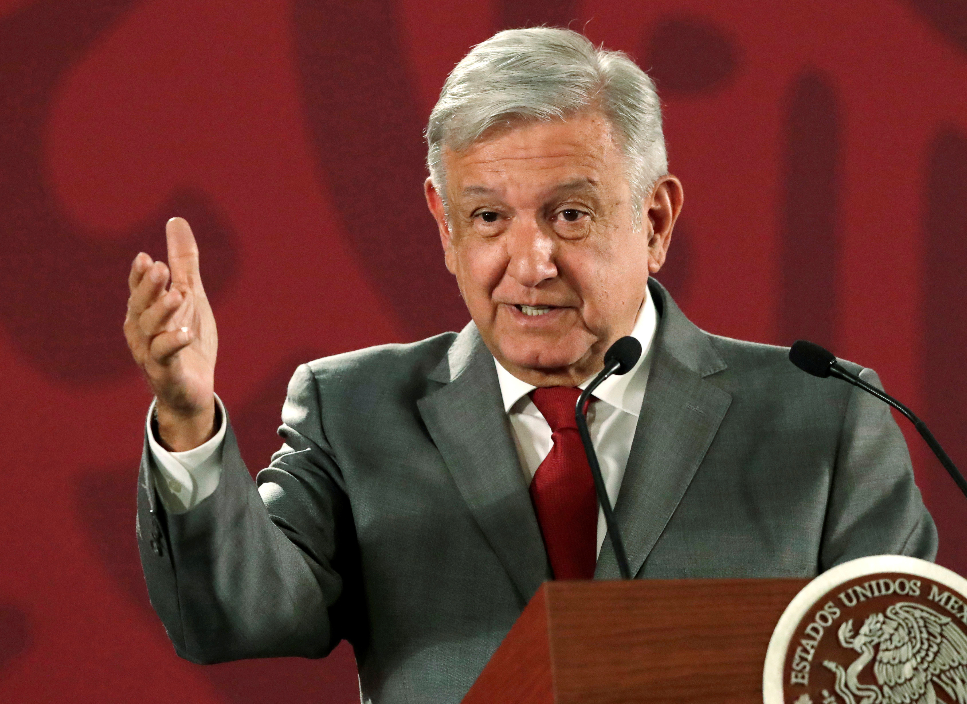 Mexico's President Andres Manuel Lopez Obrador speaks a news conference at the National Palace in Mexico City, May 31, 2019.