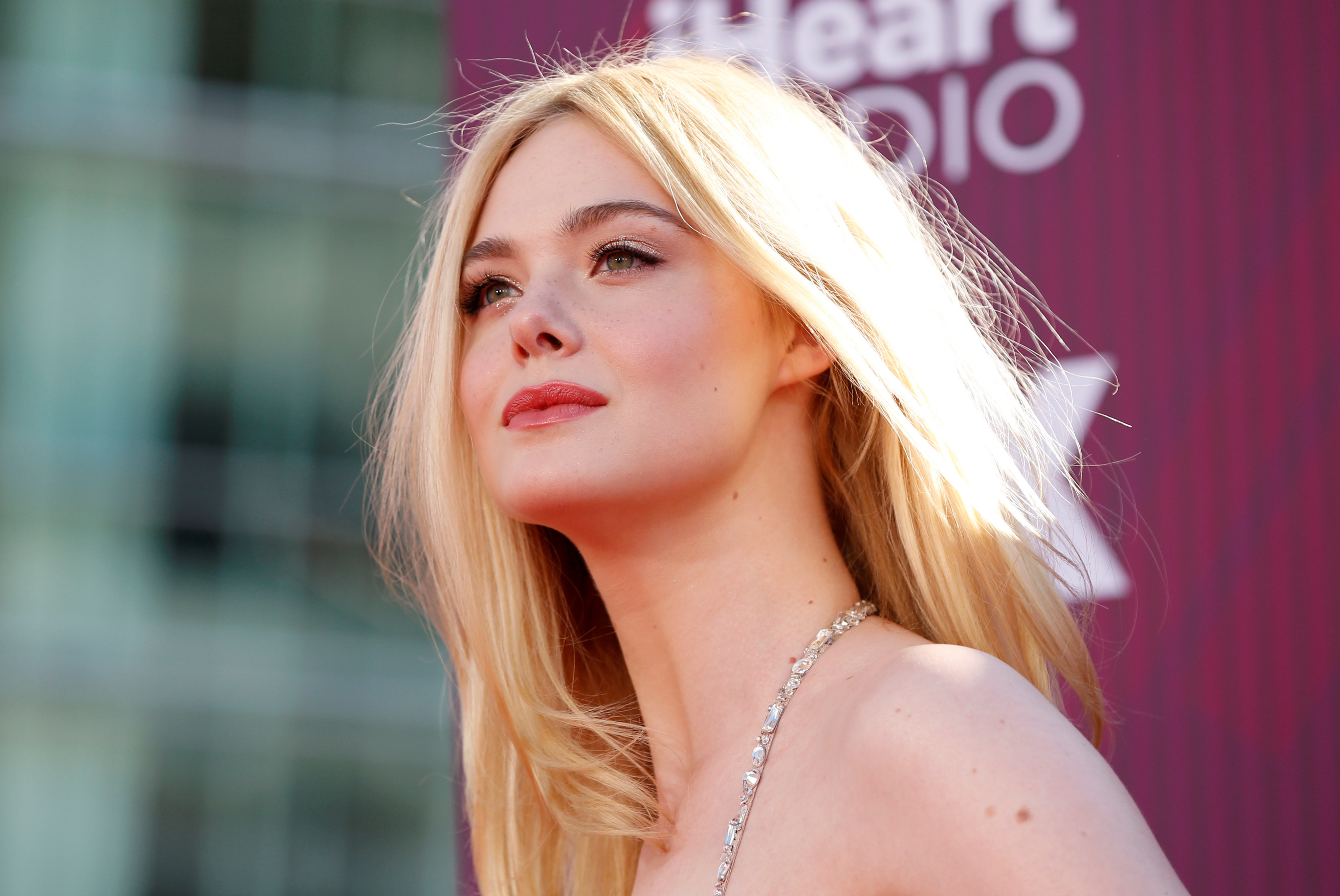 Actor Elle Fanning arrives for the iHeartRadio Music Awards in Los Angeles, California, March 14, 2019.