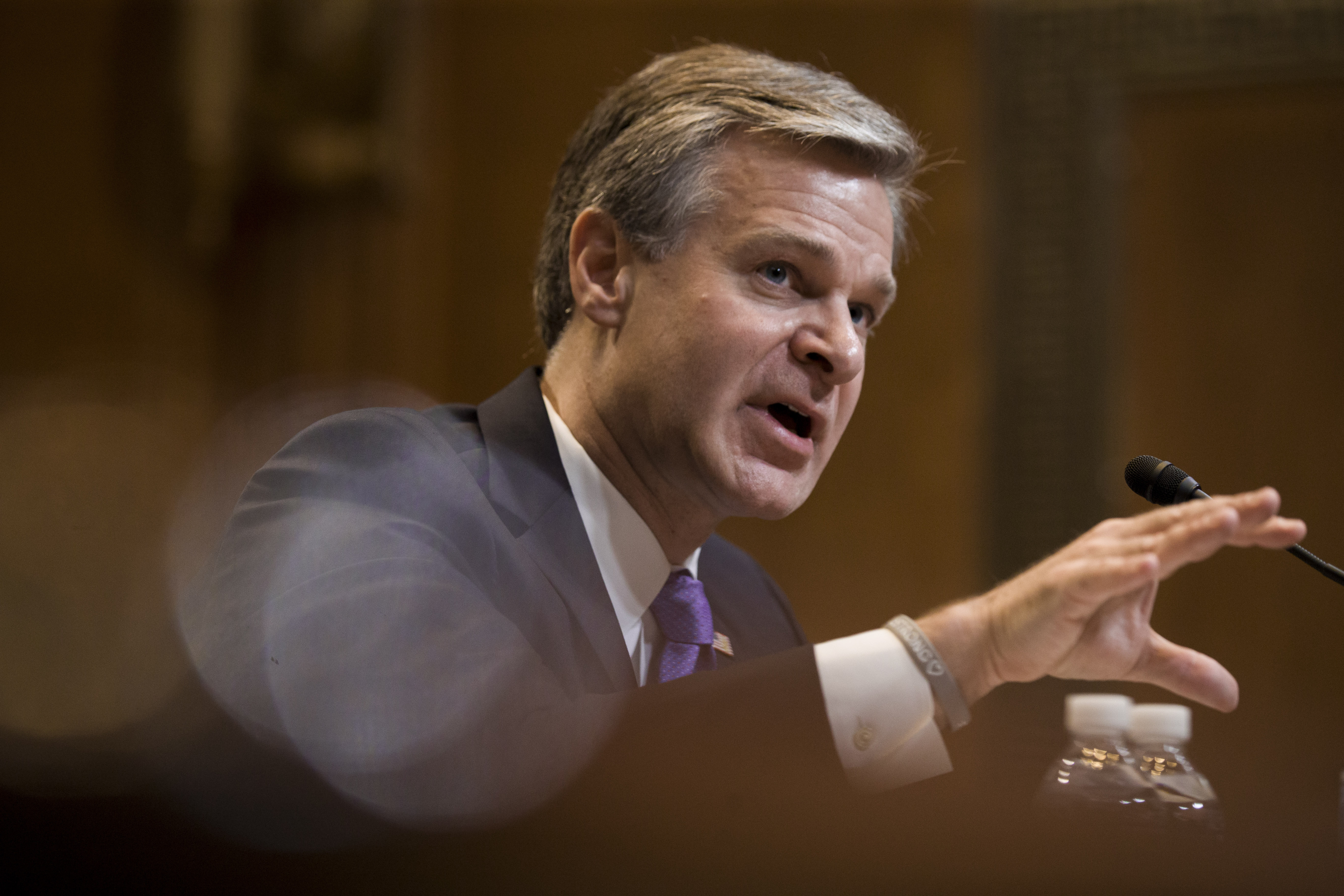 FBI Director Christopher Wray testifies during a hearing, on Capitol Hill, May 7, 2019, in Washington.