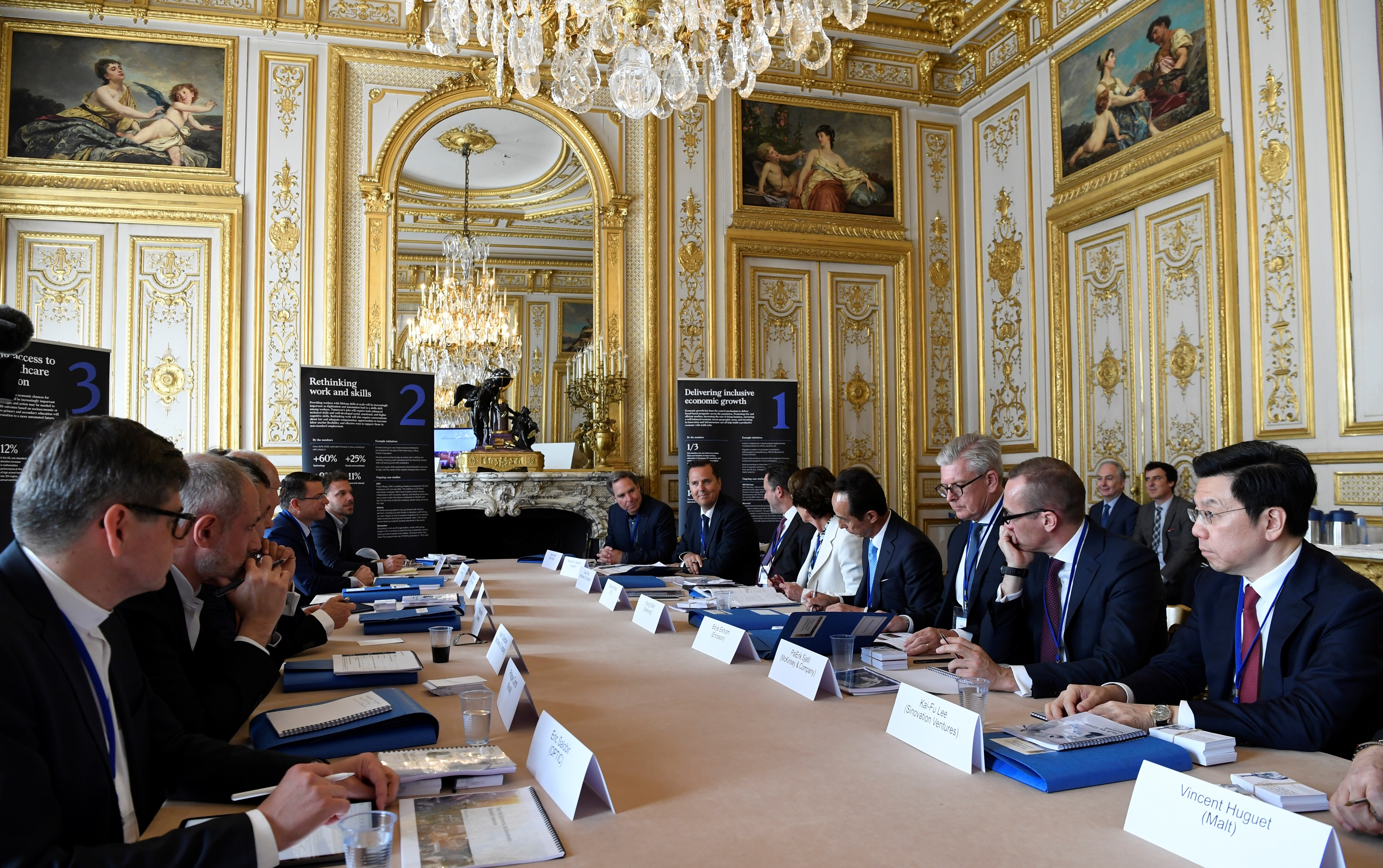 "Delegates gather during a ""Tech For Good"" summit in Paris, May 15, 2019. Several world leaders and tech bosses are meeting in Paris to find ways to stop acts of violent extremism from being shown online."