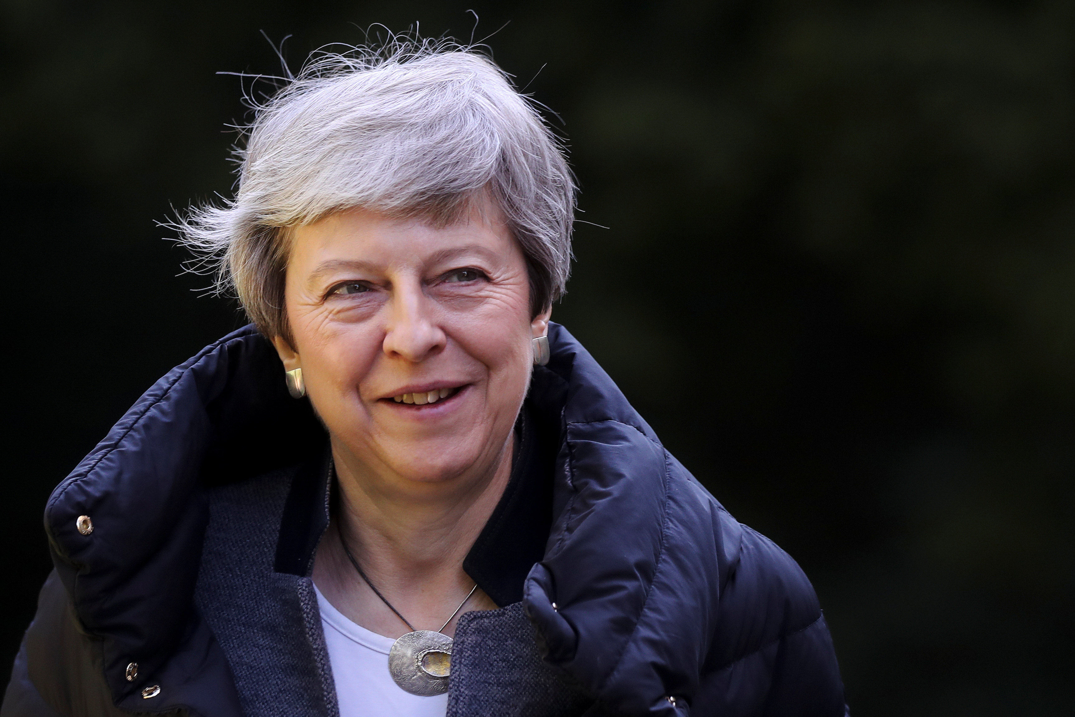 Britain's Prime Minister Theresa May leaves church, as Brexit turmoil continues, in Sonning, Britain, May 12, 2019.