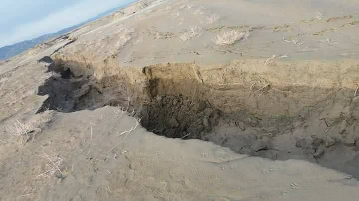 Agriculture land collapses in Quetta valley, in Pakistan's Baluchistan province. (Photos courtesy of University of Baluchistan)