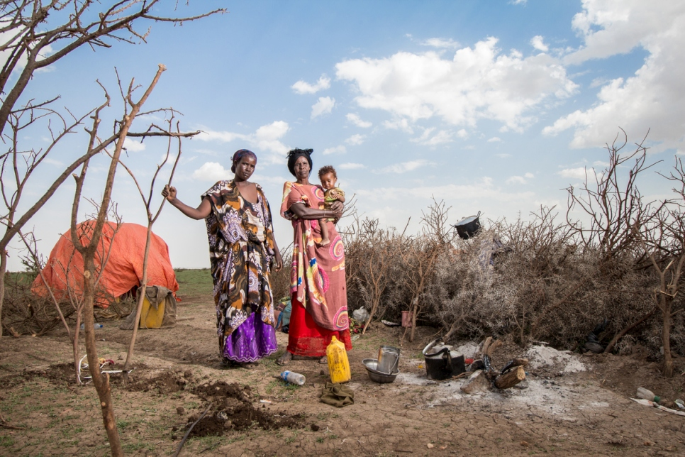 FILE - A Somali family who lost most of their livestock because of severe drought pose for a picture in Wajaale, Somalia. (UNHCR/Mustafa Saeed)