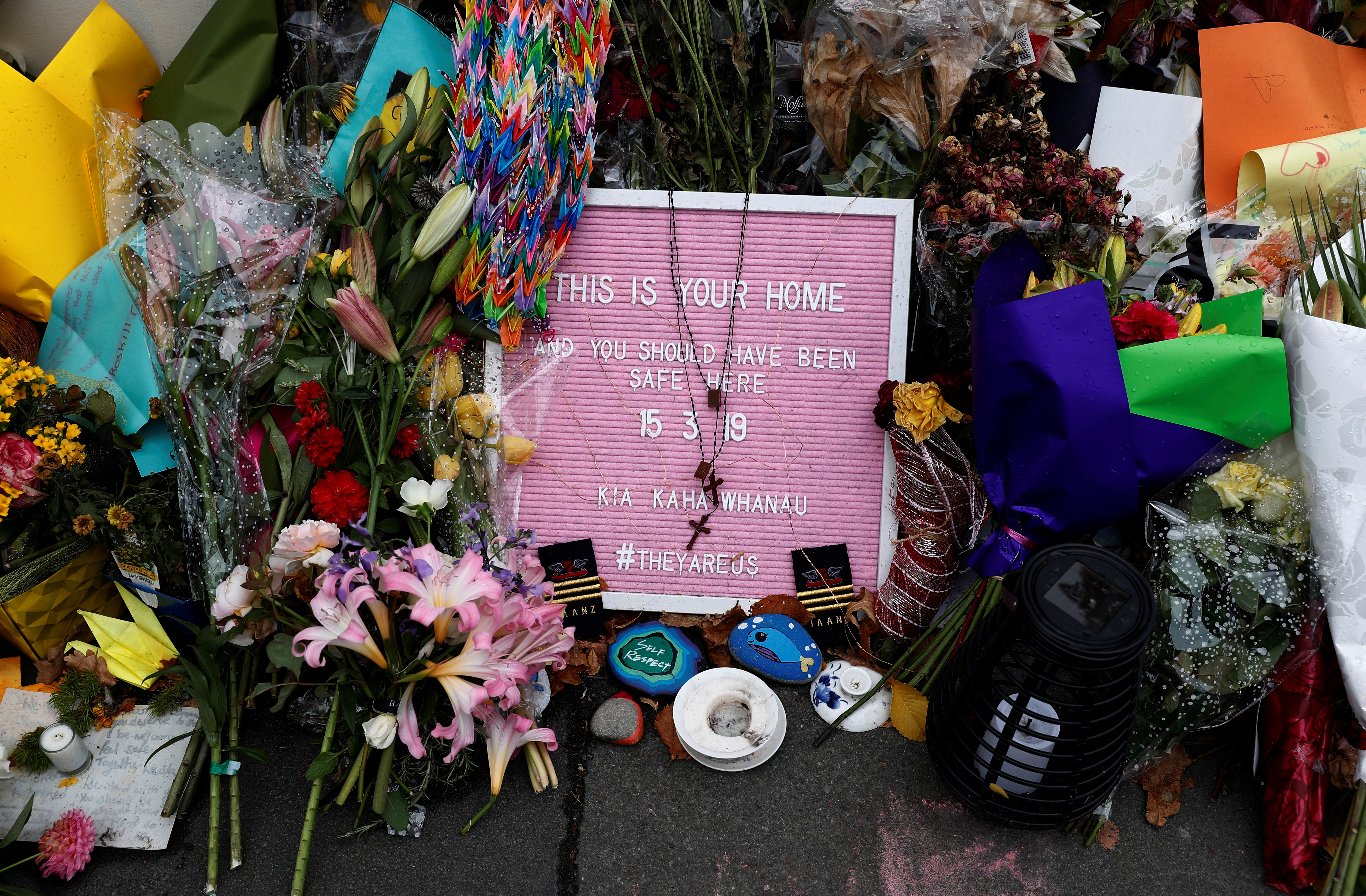 A flower tribute is seen outside Al Noor mosque where more than 40 people were killed by a suspected white supremacist during Friday prayers on March 15, in Christchurch, New Zealand March 27, 2019.