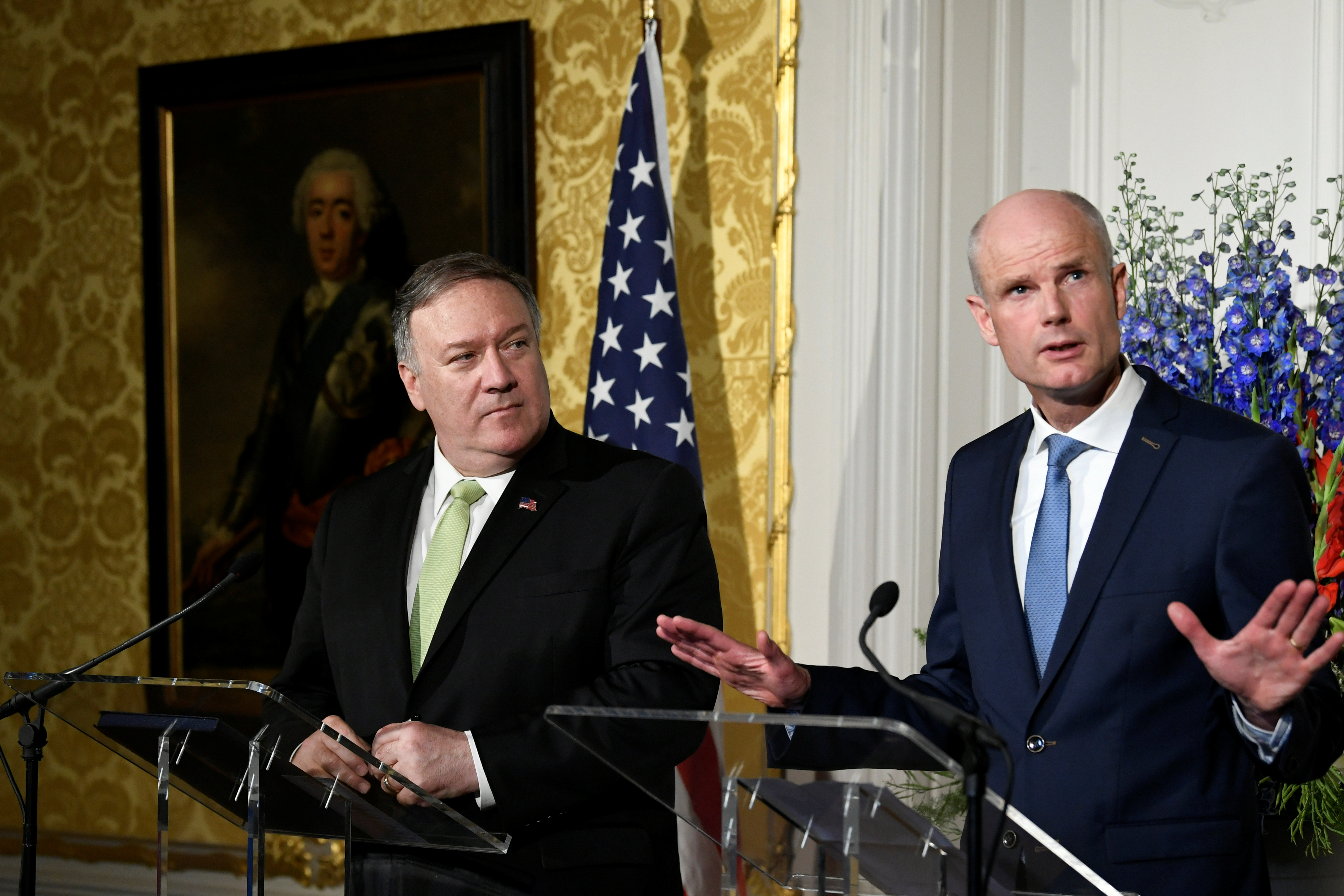U.S. Secretary of State Mike Pompeo looks on as Dutch Foreign Minister Stef Blok gestures during a joint news conference in The Hague, Netherlands, June 3, 2019.