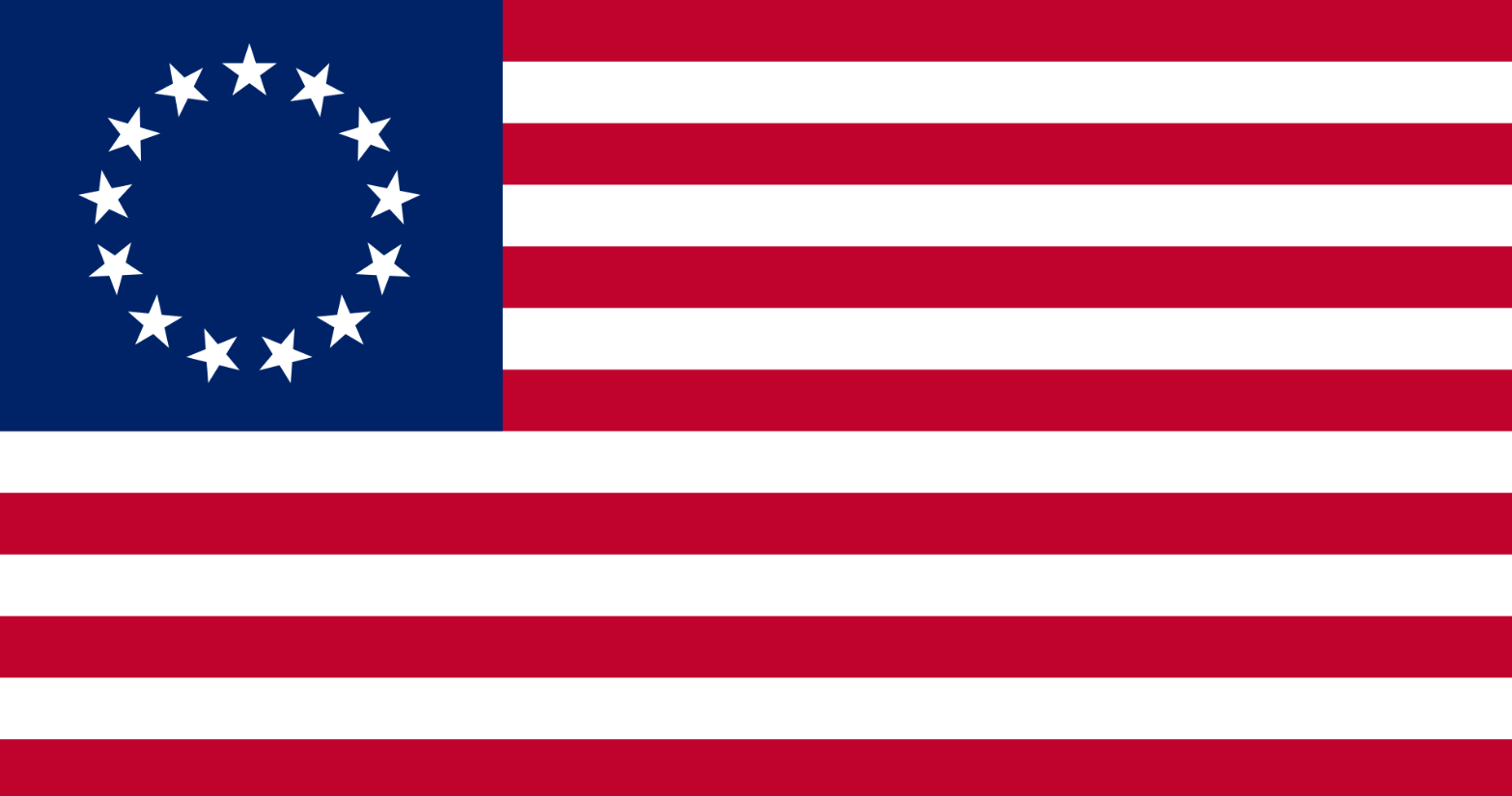 "The ""Betsy Ross"" design of the first U.S. flag with 13 stars in a circle."