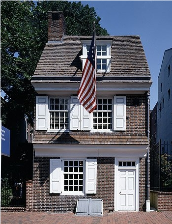 Betsy Ross may have created the U.S. flag in the upstairs rooms she rented in this Philadelphia house.