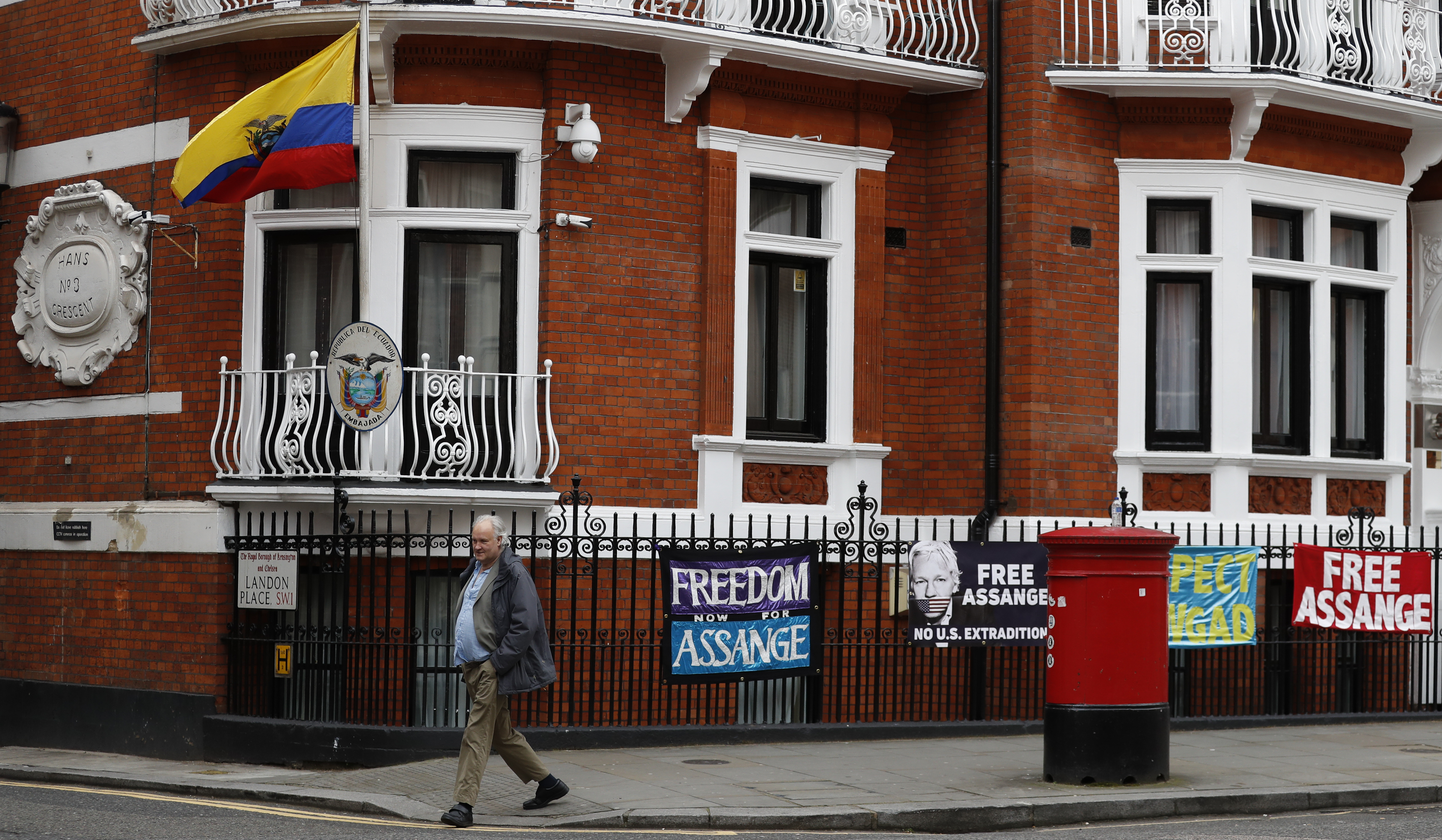 A general view of the Ecuadorian Embassy where Wikileaks founder Julian Assange was holed out since 2012, in London, April 5, 2019.
