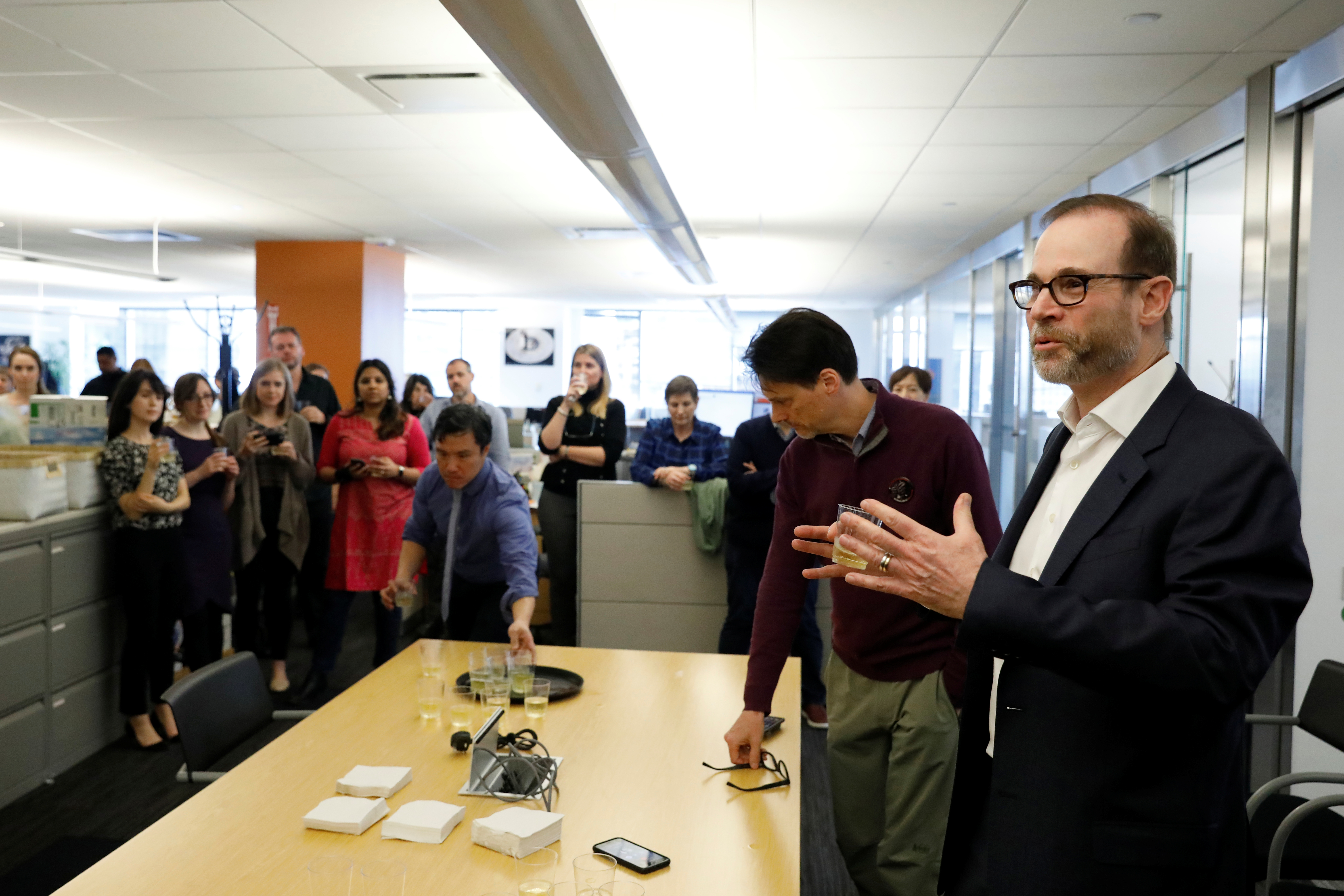 Reuters Editor-in-Chief Stephen J. Adler addresses the newsroom after Reuters was awarded two Pulitzer Prizes for international reporting and breaking news photography, in New York City, April 15, 2019.