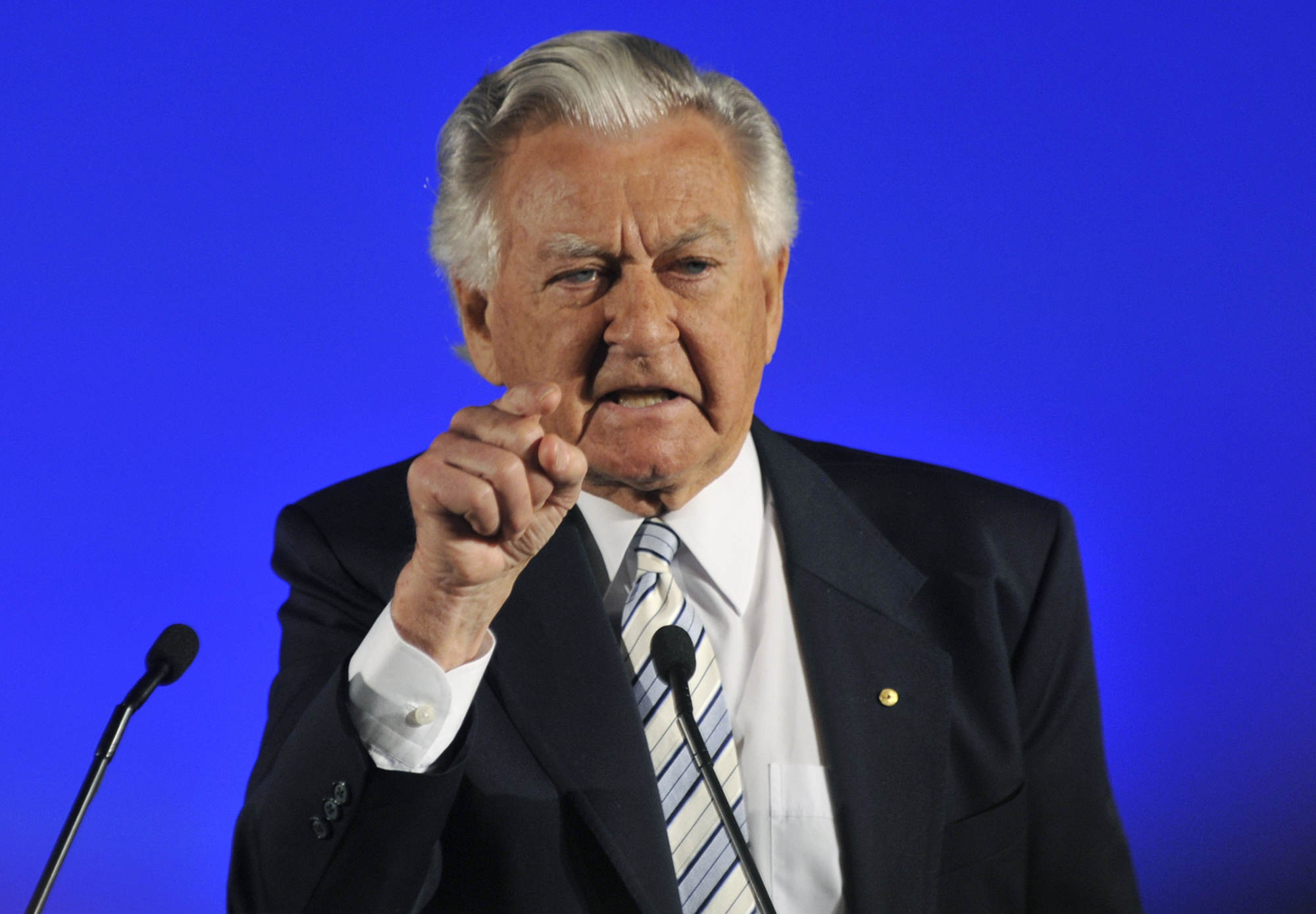 FILE - Former Prime Minister Bob Hawke speaks at the Australian Labor Party's election campaign launch in Brisbane, Aug. 16, 2010.