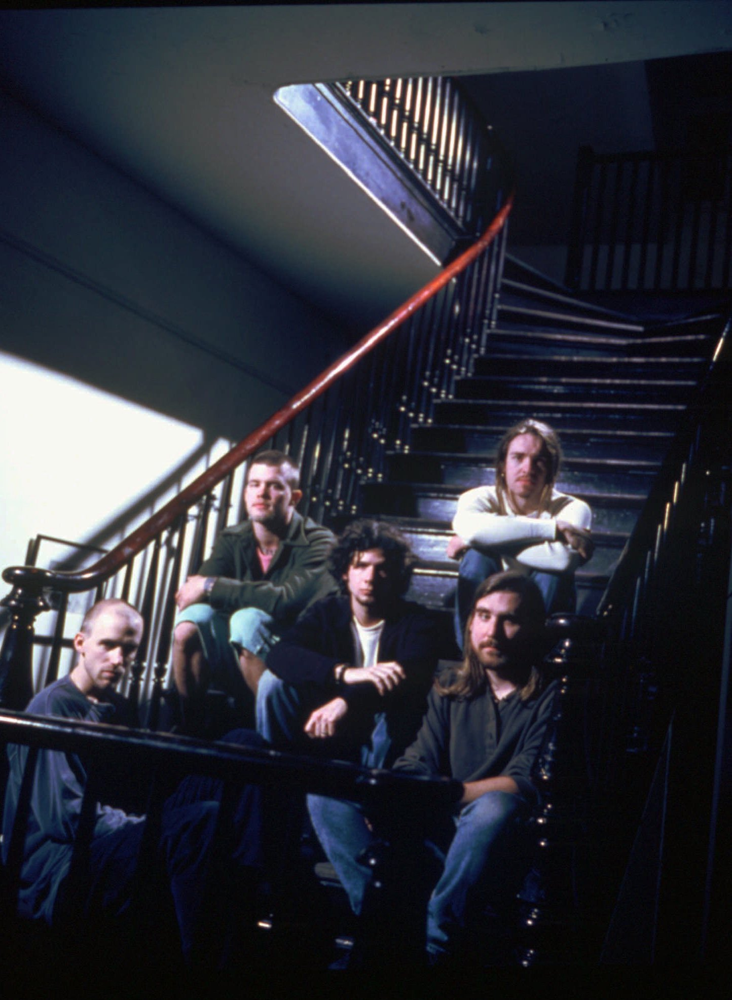 FILE - Members of the band Blind Melon, from right, Glen Graham, Brad Smith, Christopher Thorn, Shannon Hoon and Roger Stevens, pose in New Orleans in 1995.