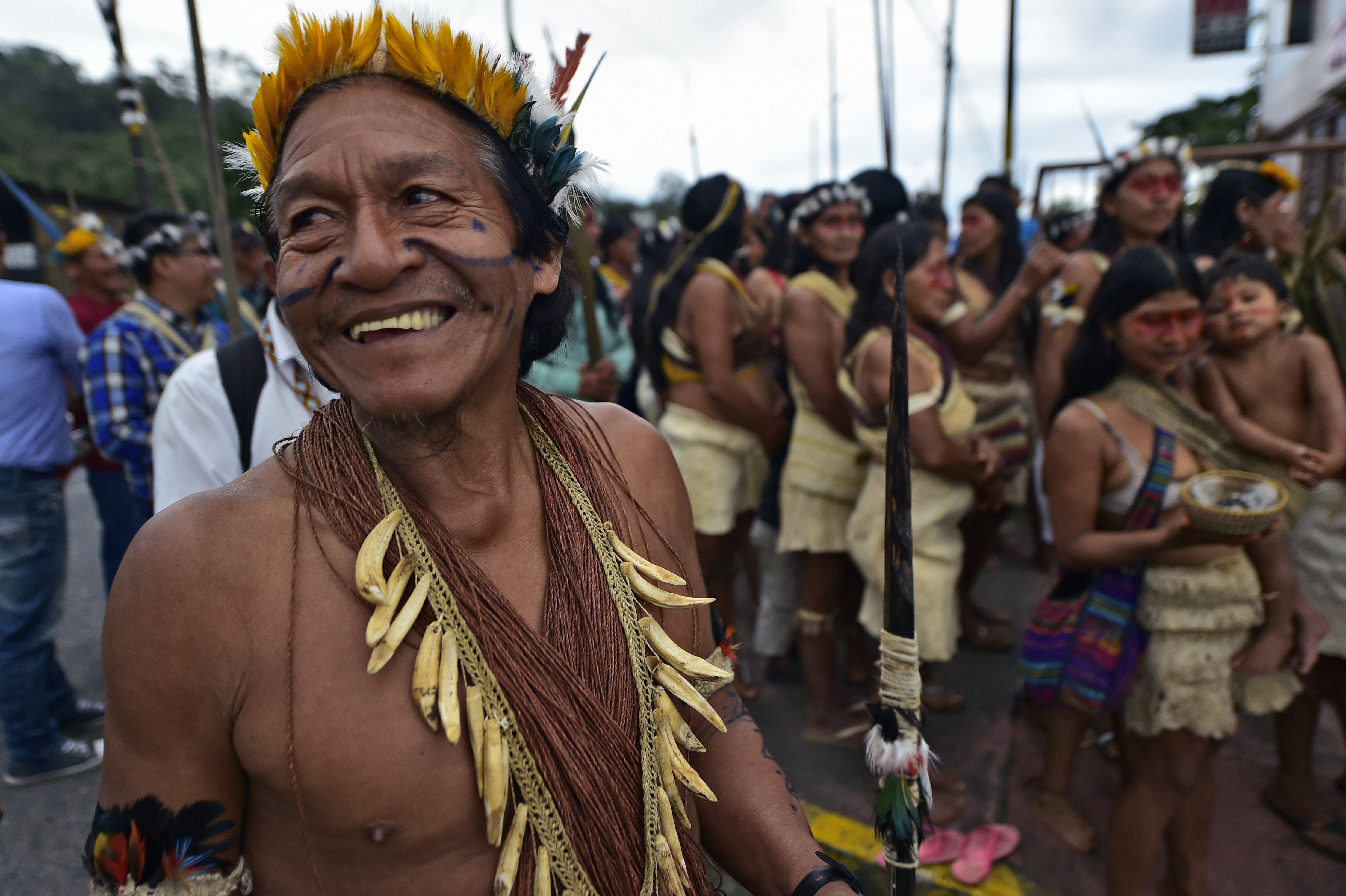 Waorani indigenous people march to demand the non-exploitation of oil in their territory, in Puyo, Ecuador, April 11, 2019. Indigenous people from 16 Waorani communities marched to the provincial court of Pastaza province to attend a protection actio...