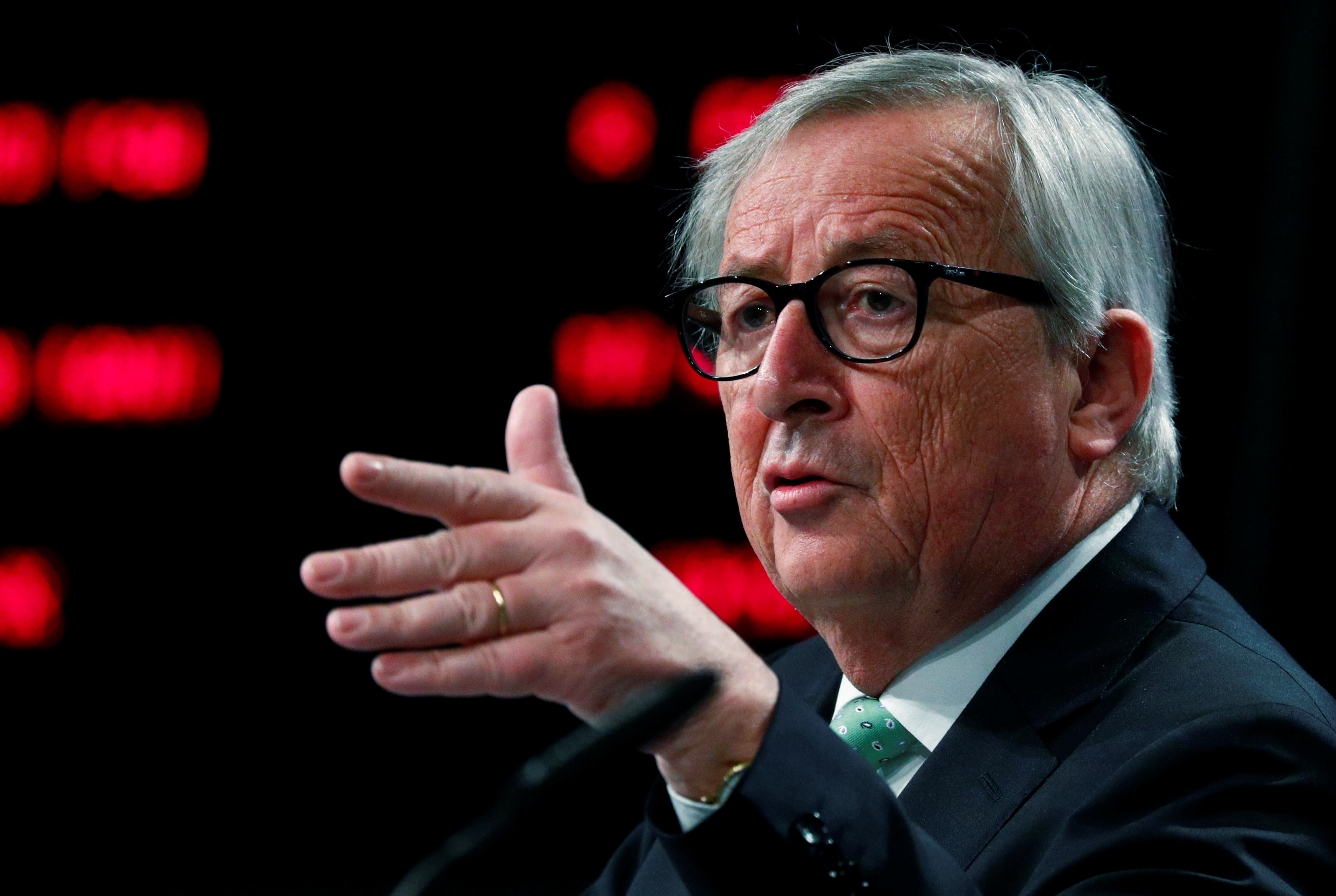 European Commission President Jean-Claude Juncker holds a news conference at the EU Commission headquarters ahead of an informal meeting of EU leaders, Brussels, Belgium, May 7, 2019.