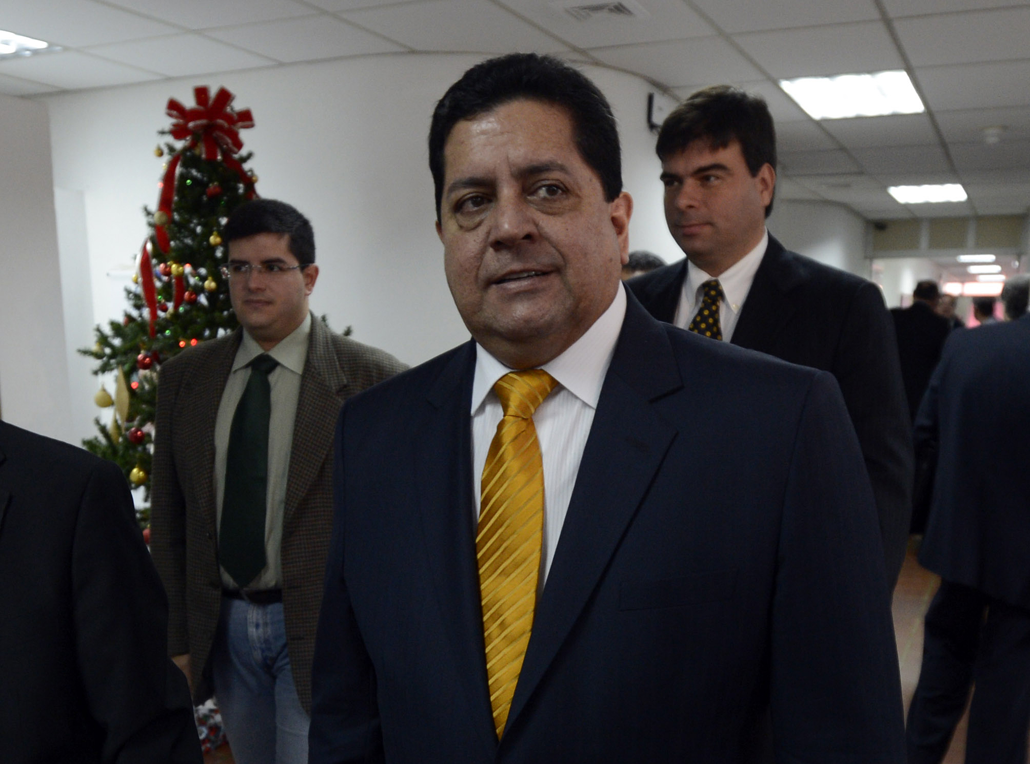 In this file photo taken on Jan. 7, 2013, opposition deputy Edgar Zambrano walks to a meeting of the country's clergy in Caracas.