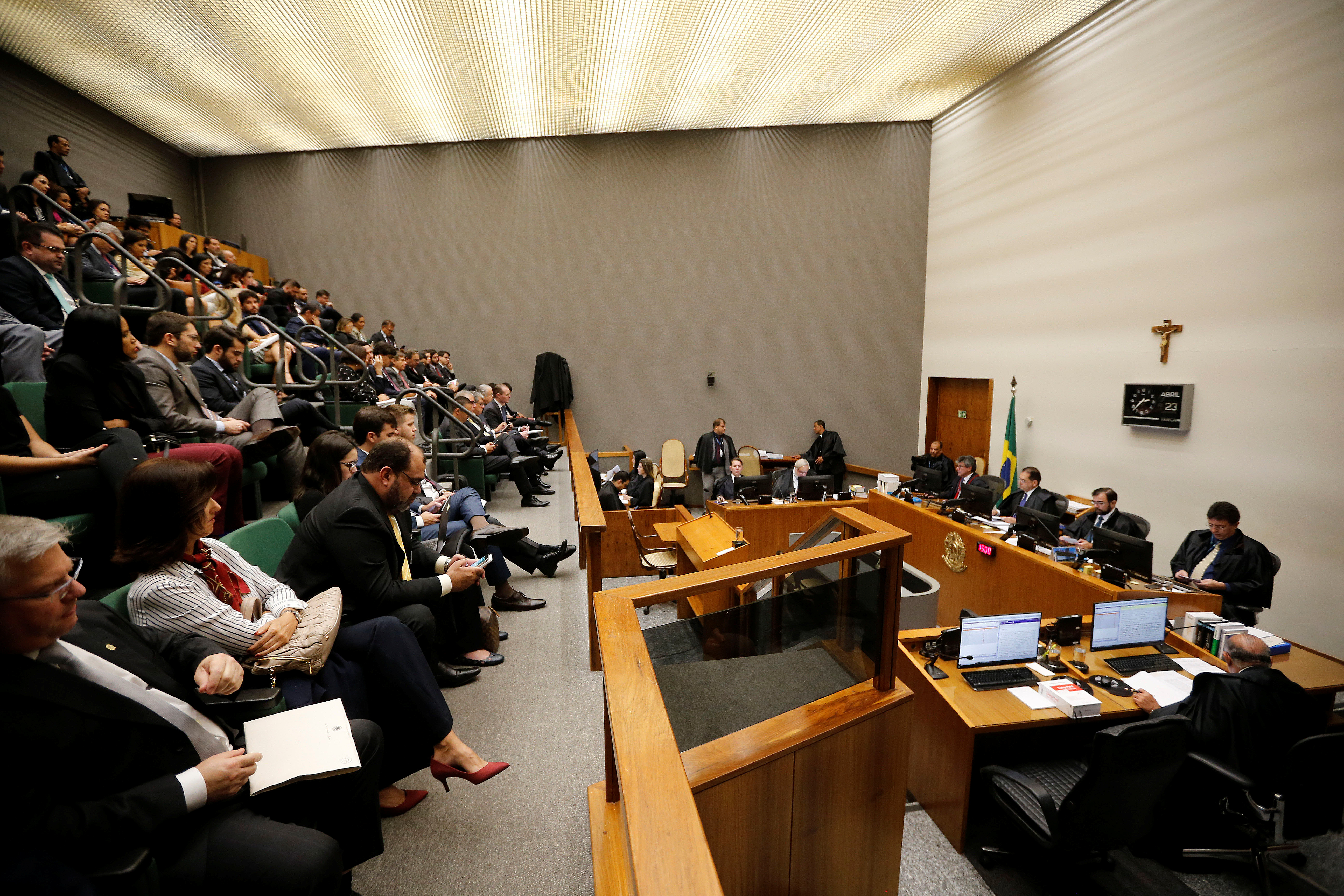 A general view of Brazil's Superior Court Justice during a session to try the appeal of former Brazilian president Luiz Inacio Lula Da Silva, in Brasilia, April 23, 2019.