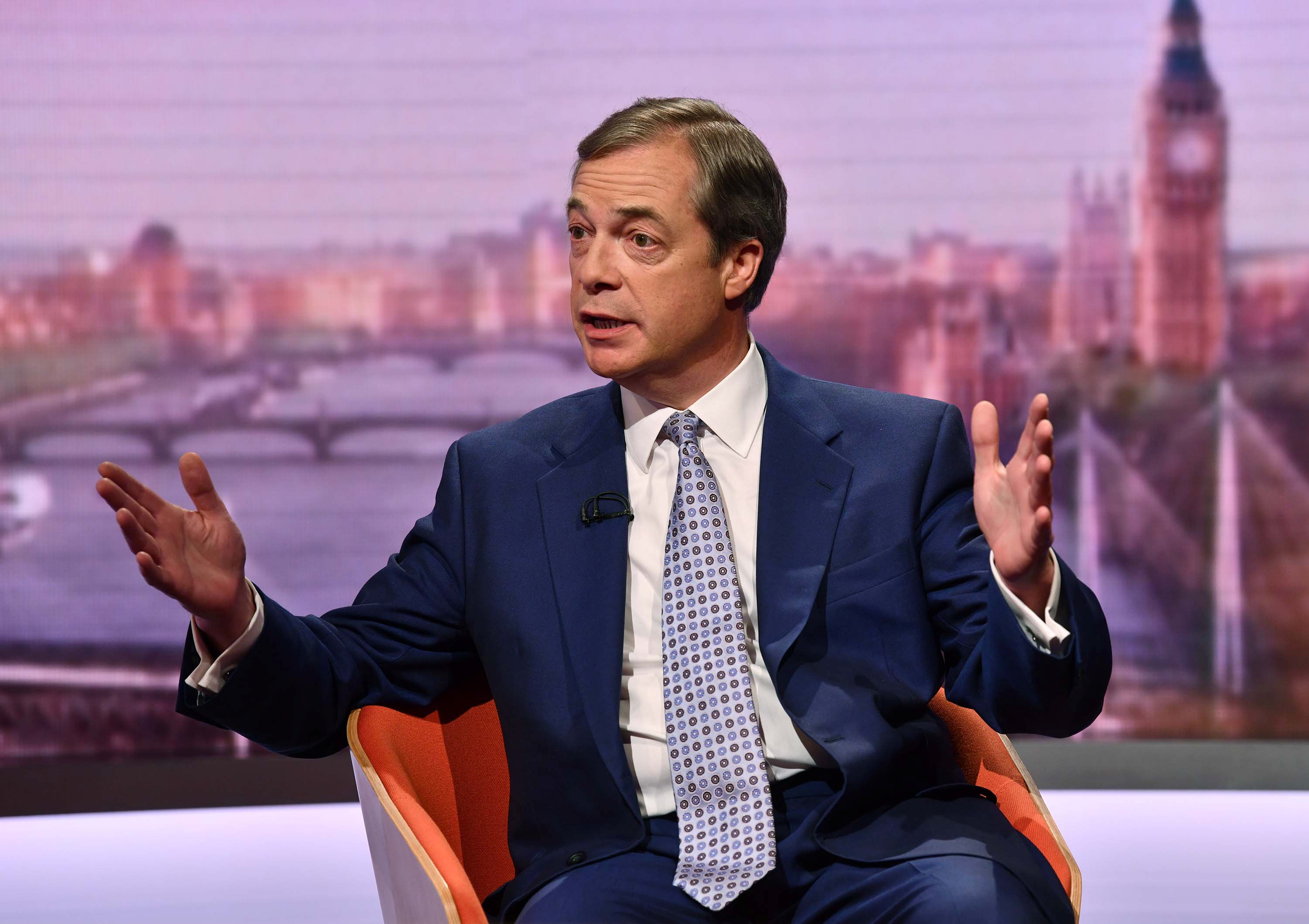 Brexit Party leader Nigel Farage appears on BBC TV's The Andrew Marr Show in London, Britain, May 12, 2019.