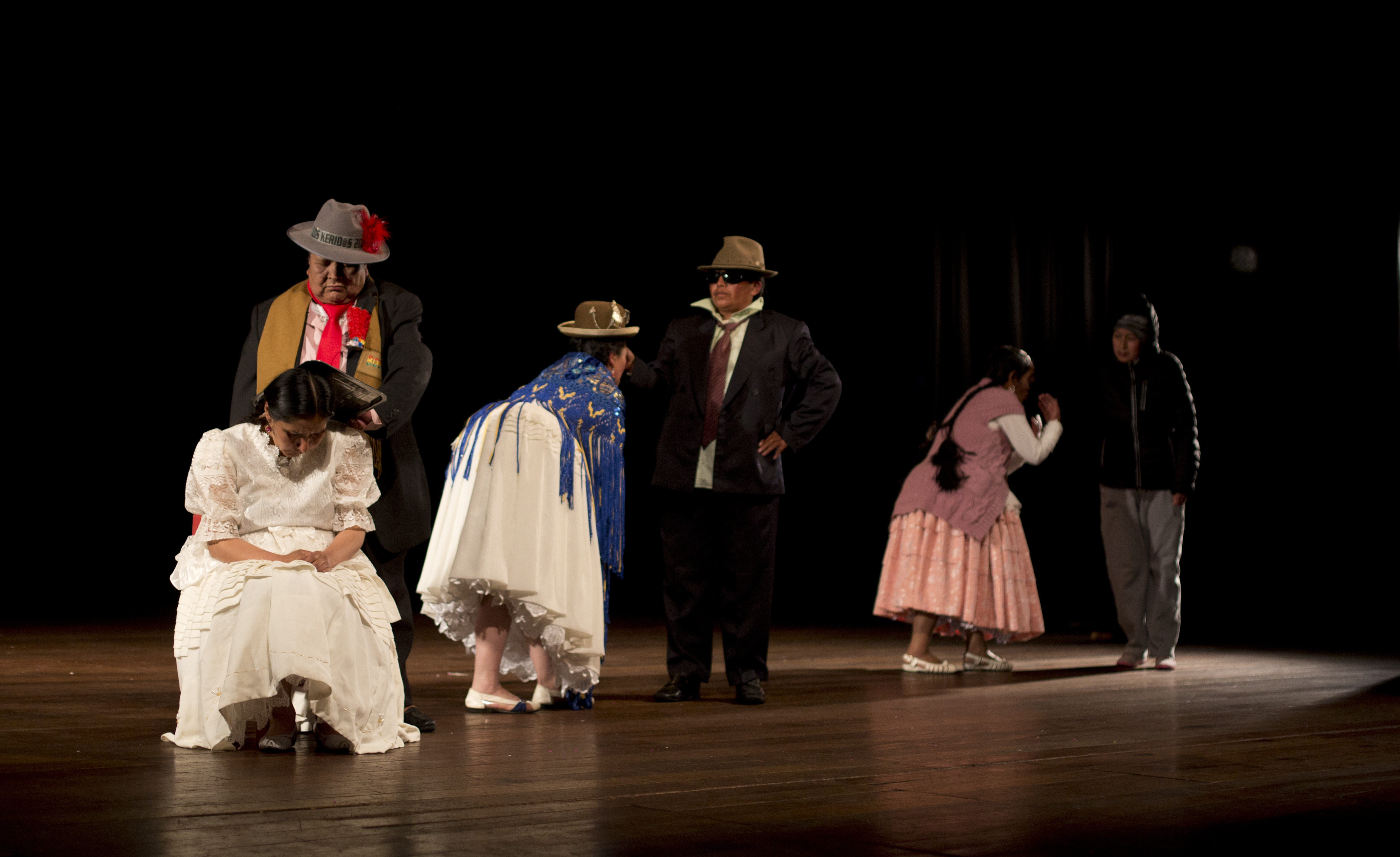"In this April 30, 2019 photo, members of the ""Kory Warmis,"" or Women of Gold theater group, perform at the Municipal Theater, in La Paz, Bolivia."