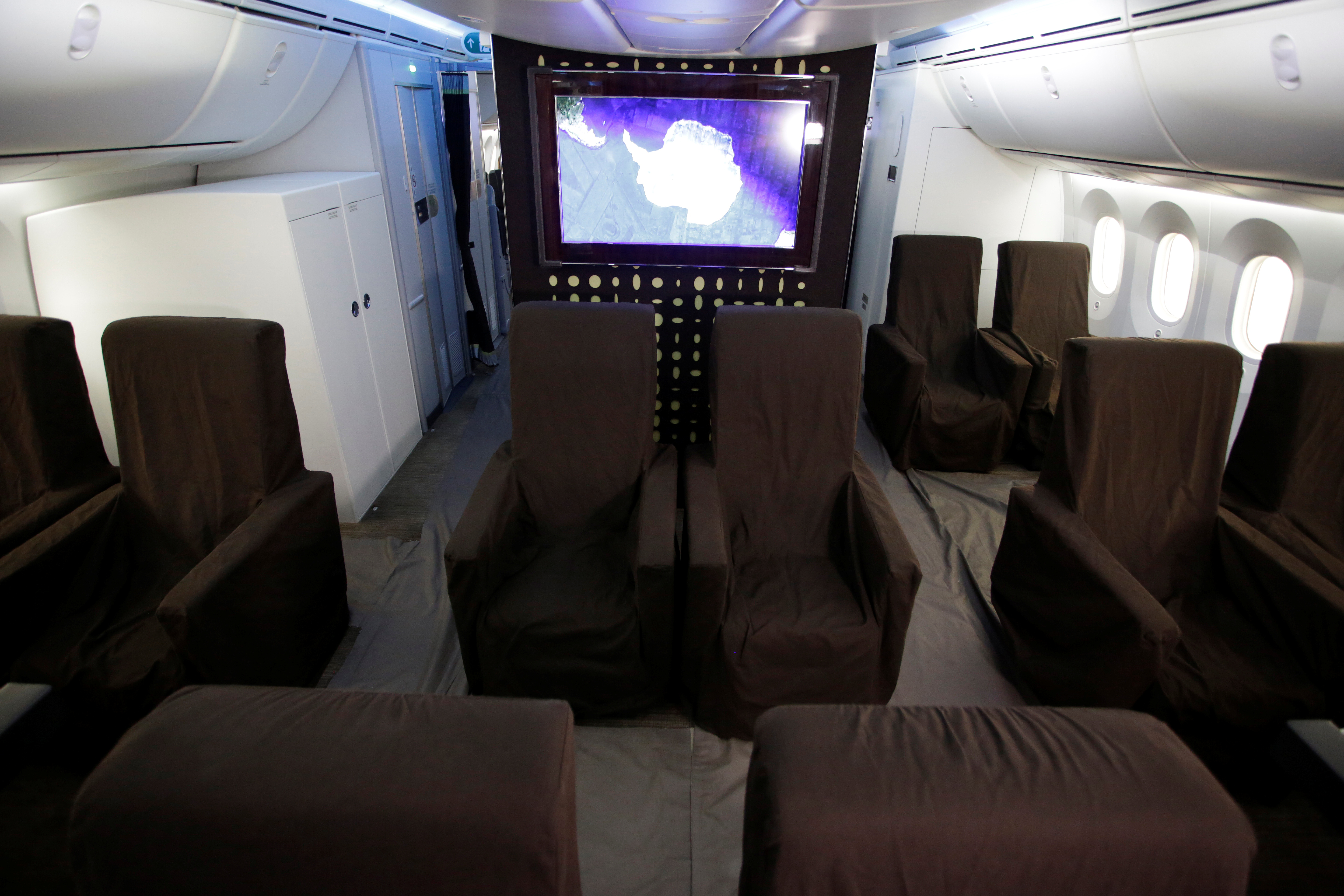 FILE - The interior of Mexican Air Force Presidential Boeing 787-8 Dreamliner is pictured at Benito Juarez International Airport in Mexico City, Mexico, Dec. 2, 2018.