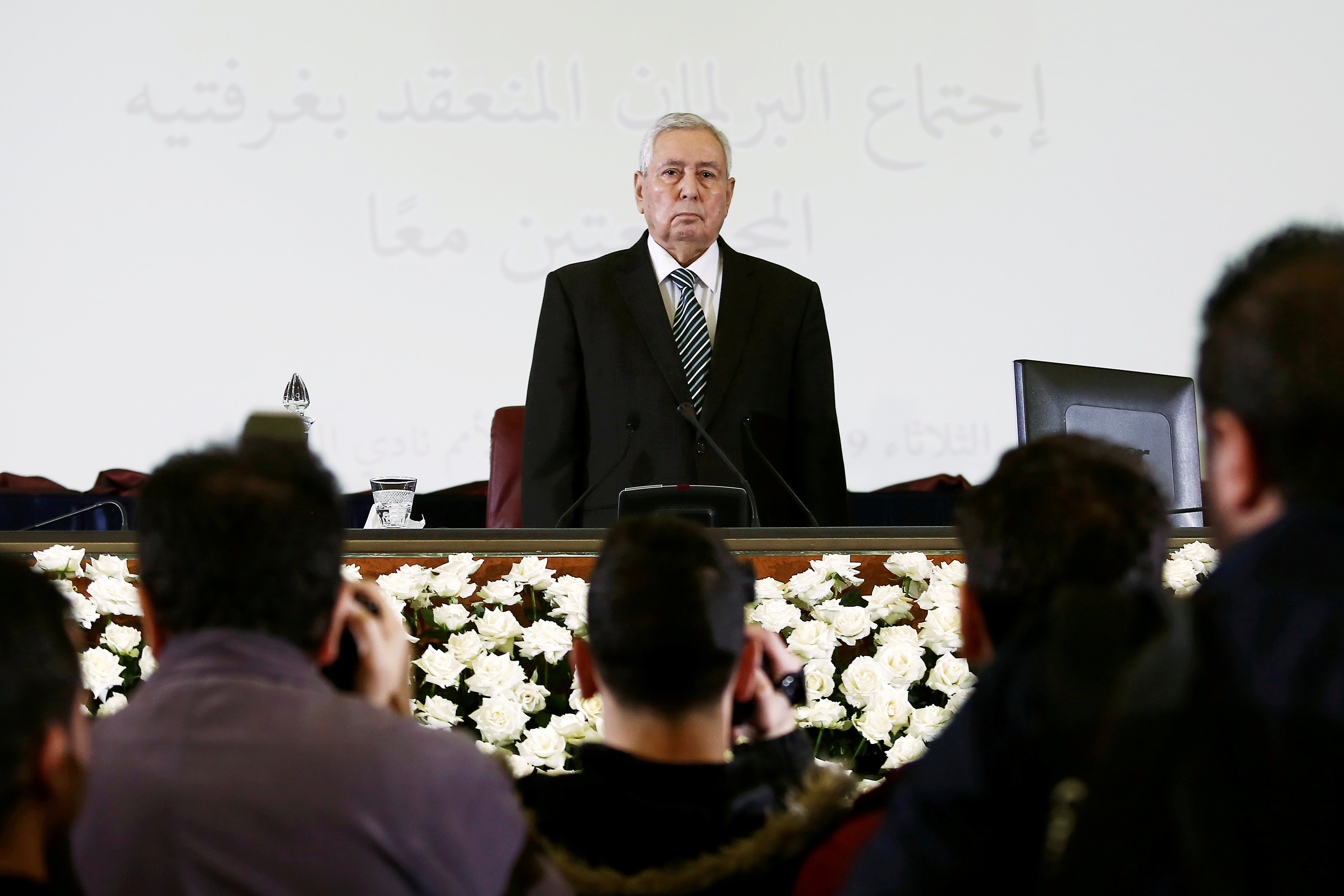 FILE - Algerian upper house chairman Abdelkader Bensalah is pictured after being appointed as interim president by Algeria's parliament, following the resignation of Abdelaziz Bouteflika in Algiers, Algeria, April 9, 2019.