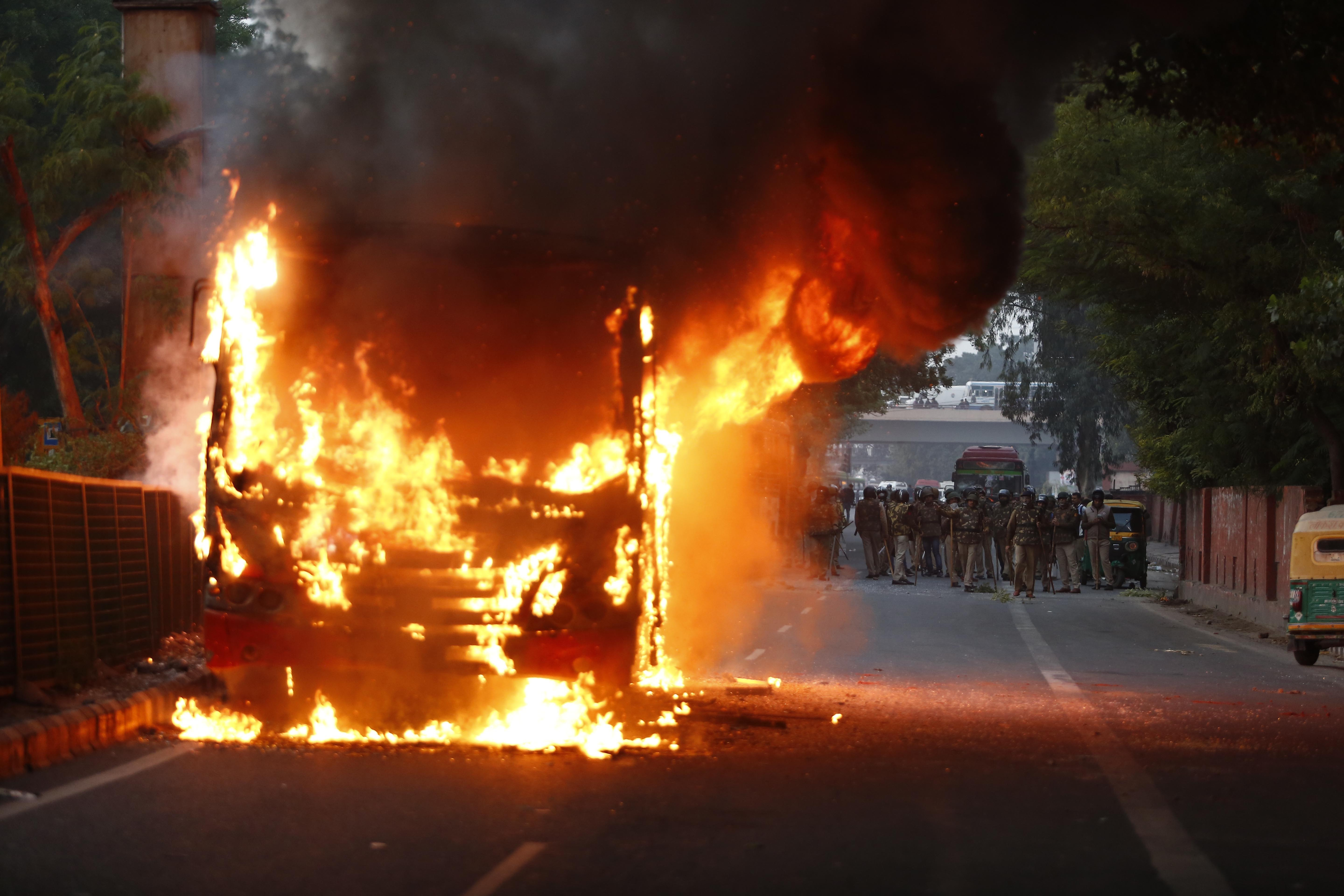 Protests in New Delhi Against New India Citizenship Law Turn Violent