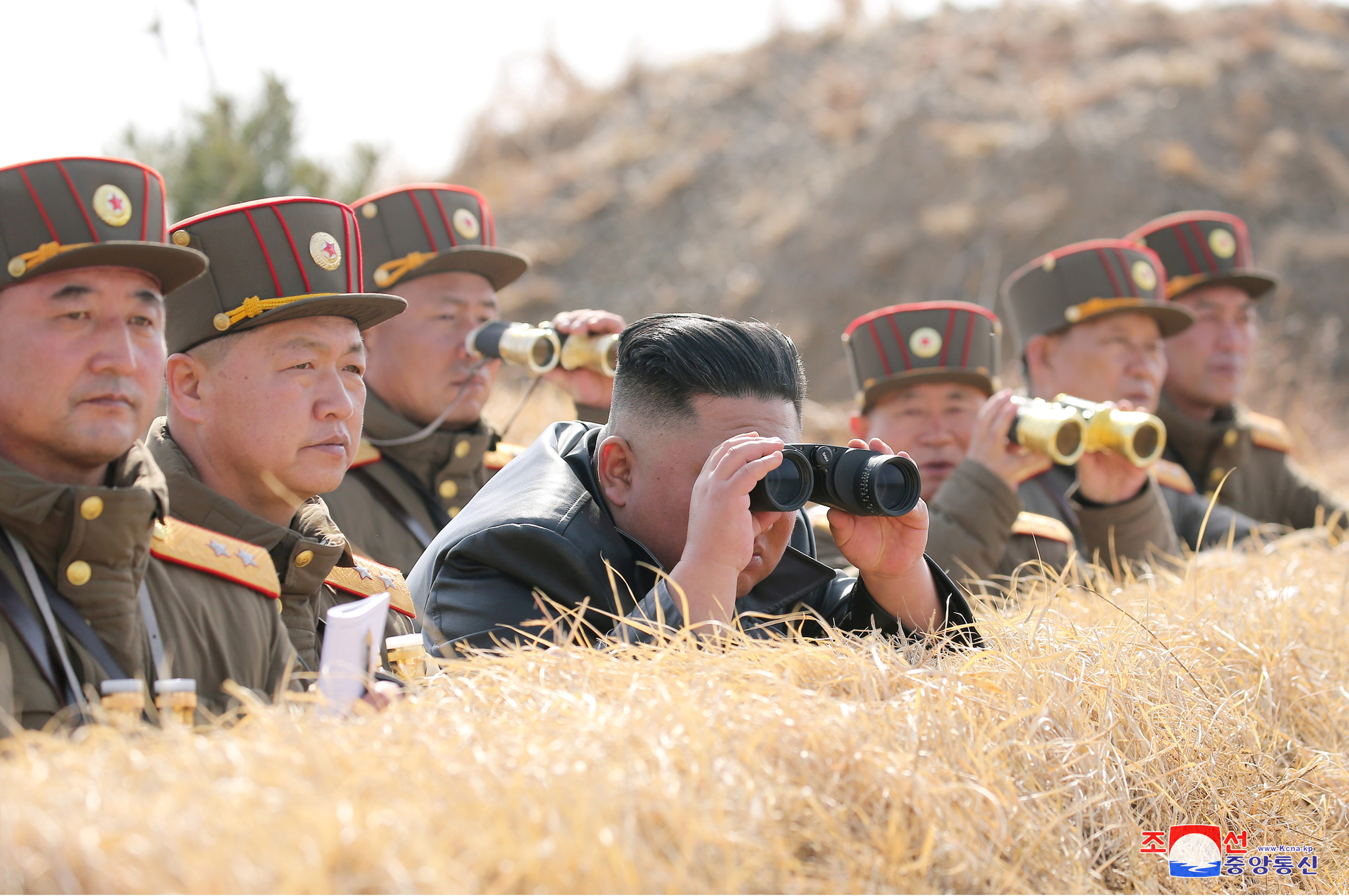 North Korean leader Kim Jong Un guides artillery fire competition in this image released by North Korea's Korean Central News…