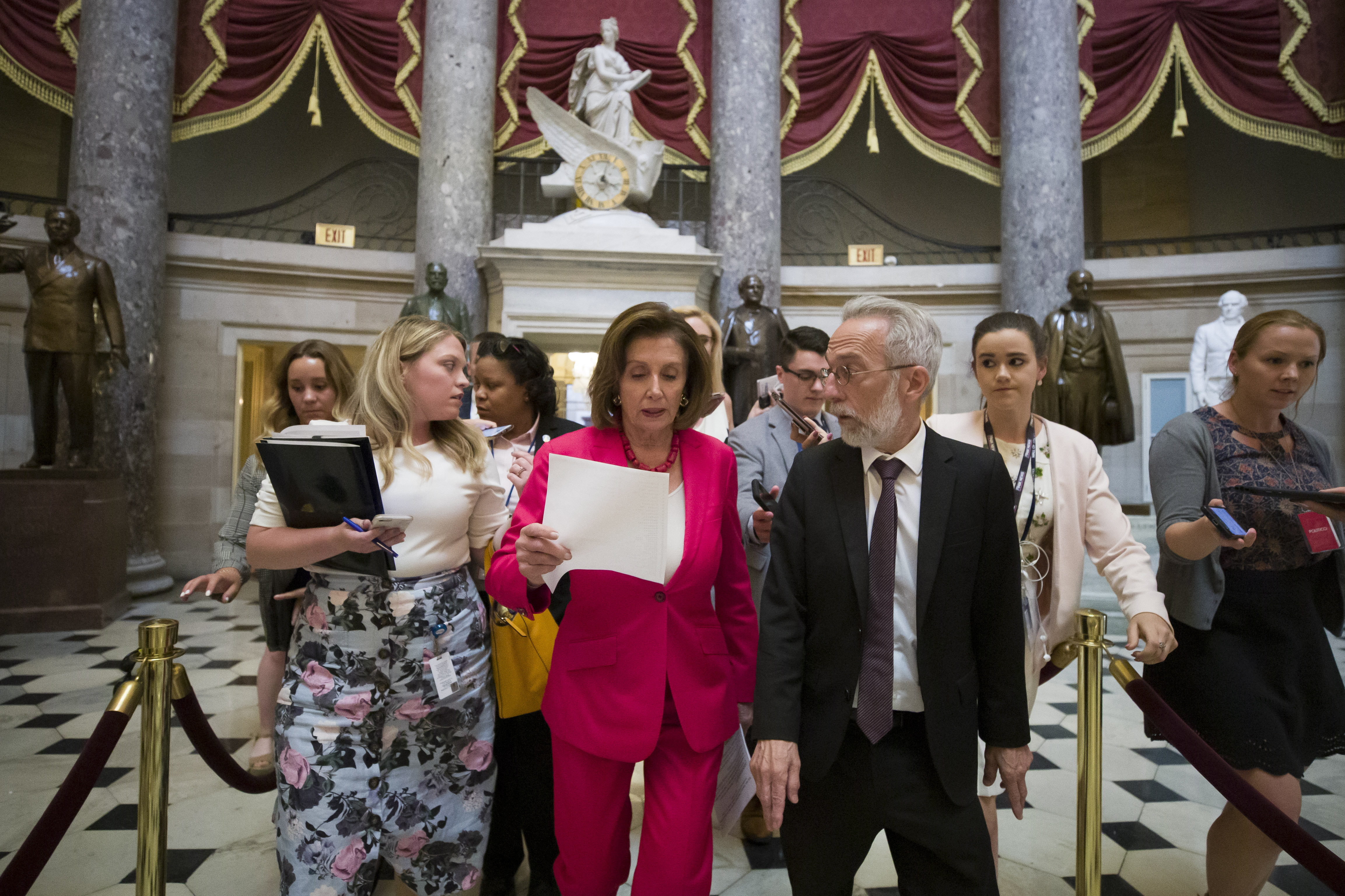 House Speaker Nancy Pelosi of Calif., walks to the House floor from her office on Capitol Hill, Thursday, June 27, 2019 in Washington. (AP Photo/Alex Brandon)
