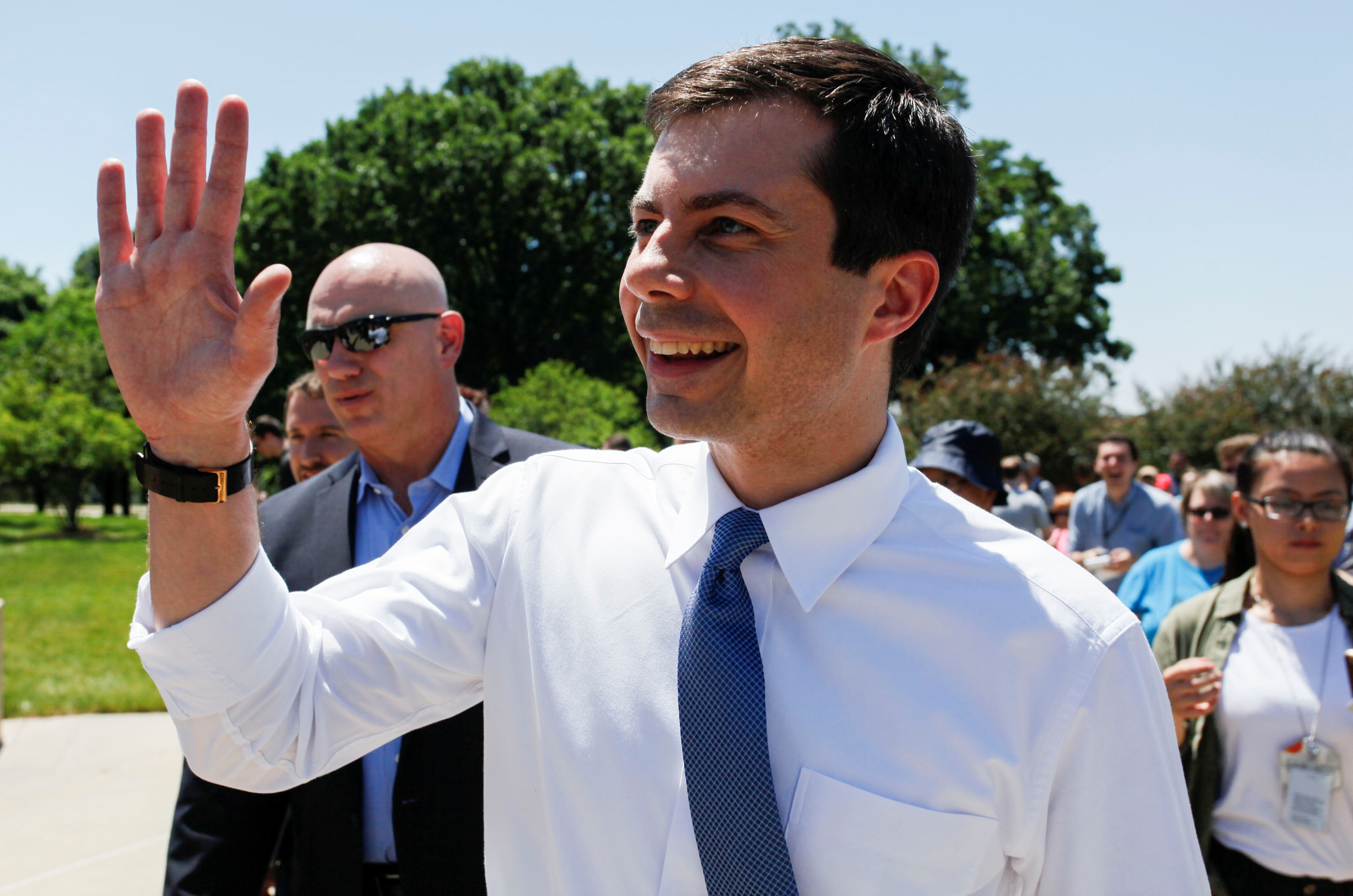 FILE - Democratic 2020 U.S. presidential candidate Mayor Pete Buttigieg, who is gay and married to a man, arrives to the Capital Pride LGBTQ celebration at the Iowa State Capitol in Des Moines, Iowa, June 8, 2019.