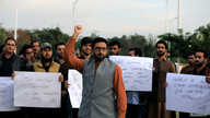 Supporters of the Pashtun Tahafuz Movement (PTM) chant slogans against the murder of a senior police officer after he disappeared from Pakistan's capital city last month, during a protest in Islamabad, Pakistan Nov.15, 2018.