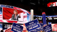 "U.S. Rep. Marsha Blackburn speaks on the final night of the Republican National Convention in Cleveland, Ohio. The theme of the night was ""Make American One Again."" (A. Shaker/VOA)"