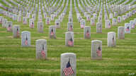 The graves of war veterans are seen during the annual 'Flag Placement Ceremony' to honor the fallen for Memorial Day at the Los